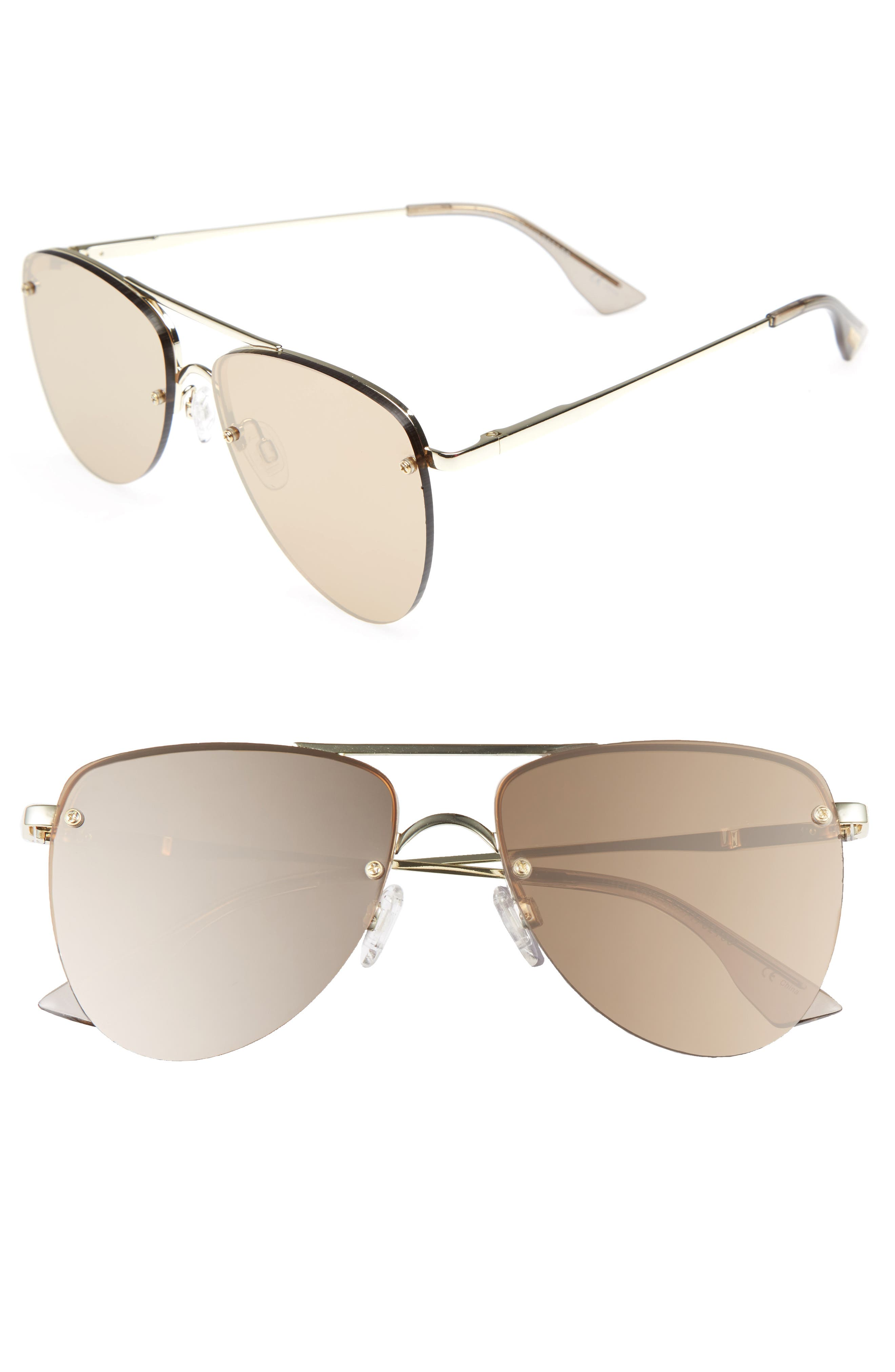 Le Specs The Prince 59mm Mirrored Rimless Aviator Sunglasses