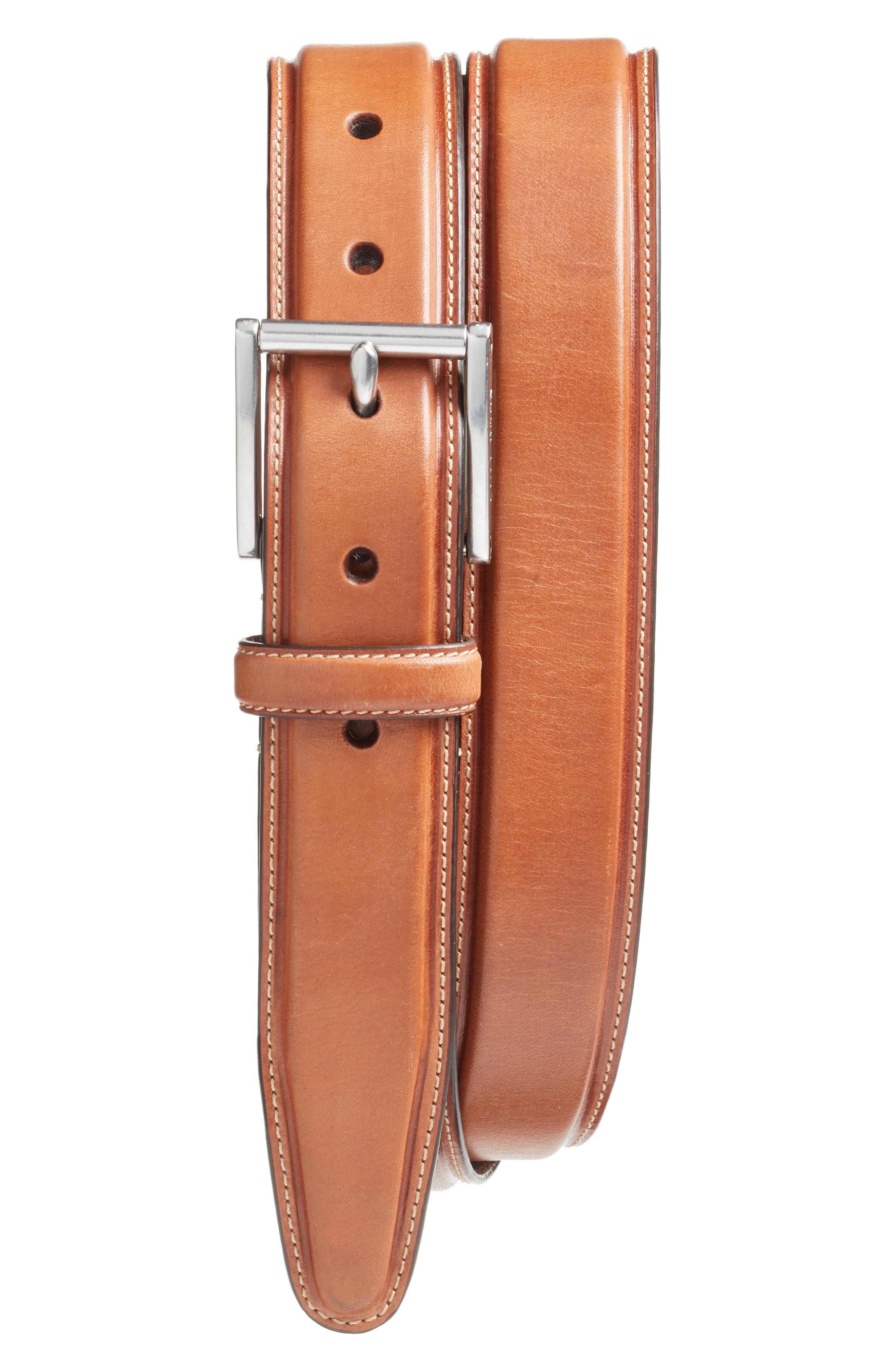 Pressed Edge Leather Belt,                             Main thumbnail 1, color,                             Woodbury
