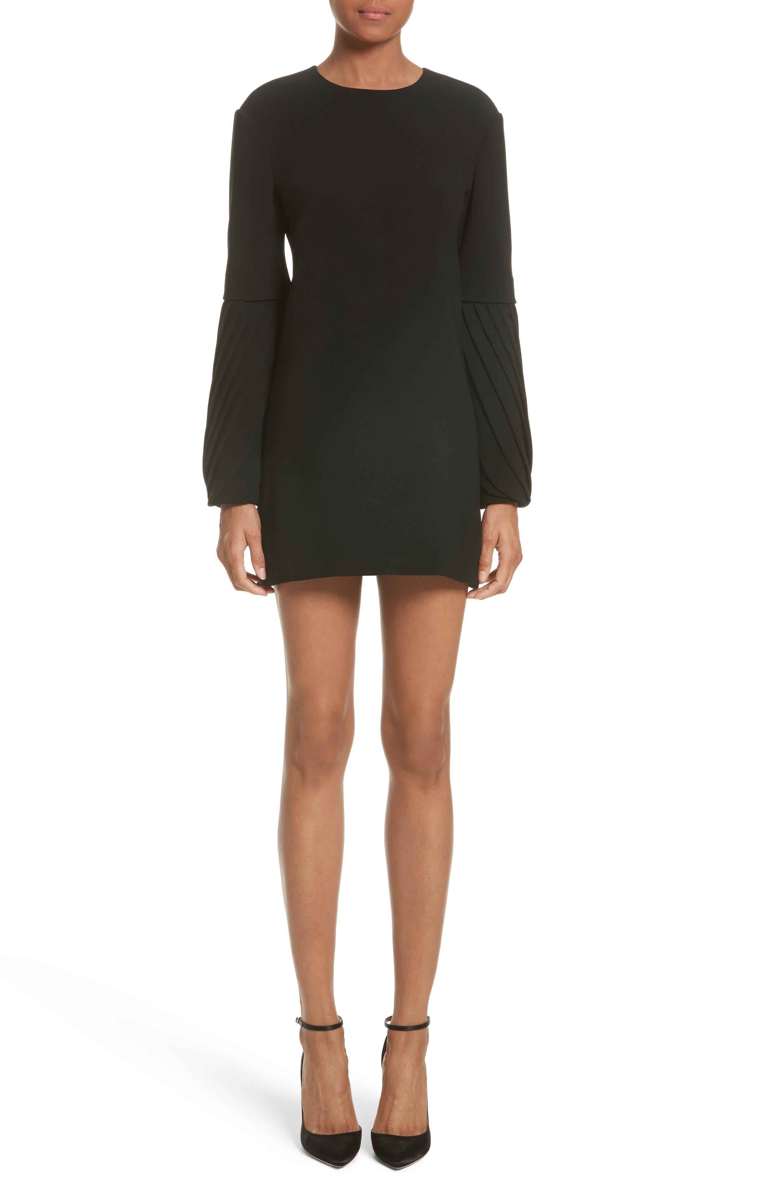 Petal Sleeve Crepe Dress,                         Main,                         color, Black