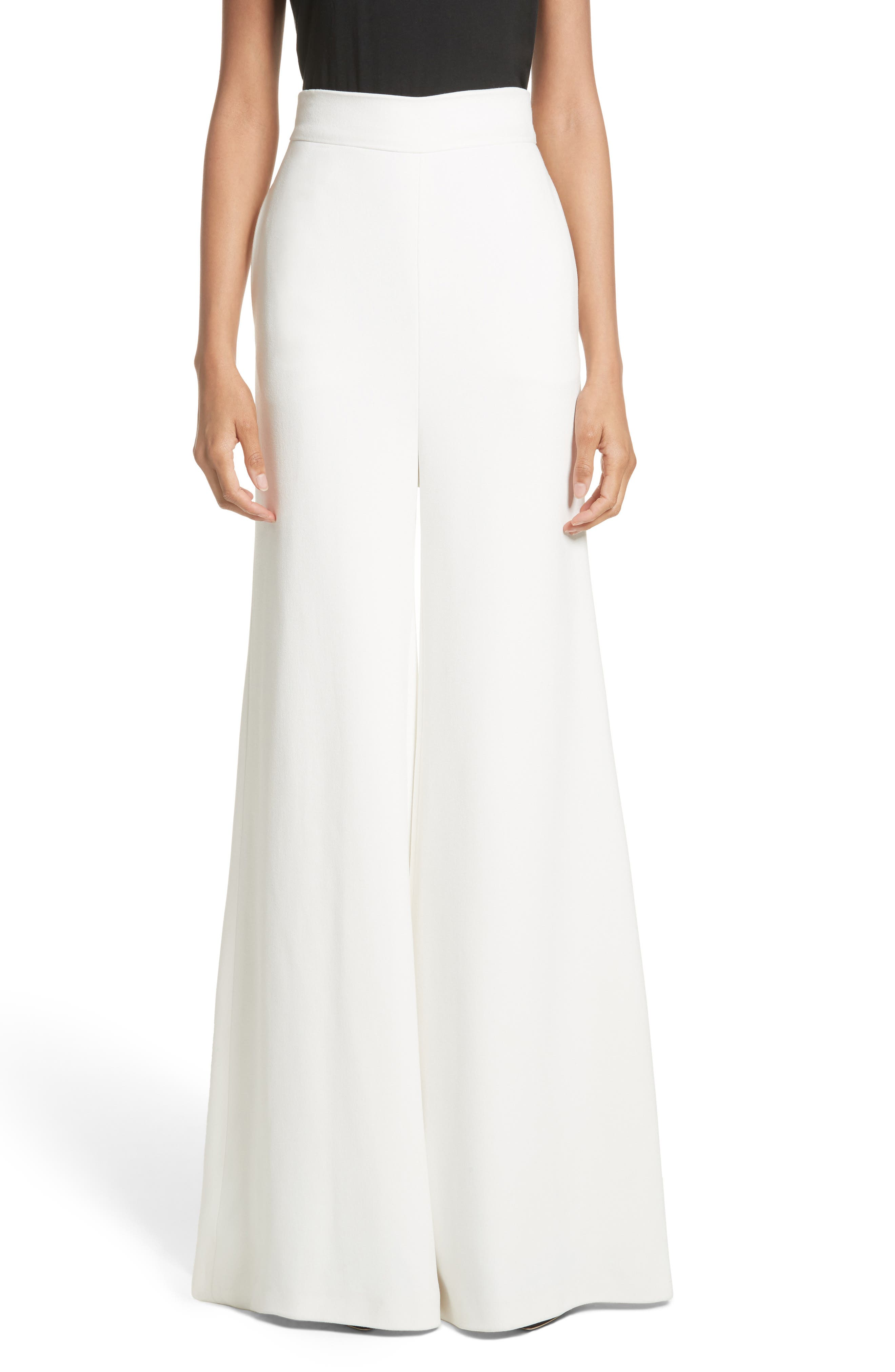 Brandon Maxwell Crepe Wide Leg Pants