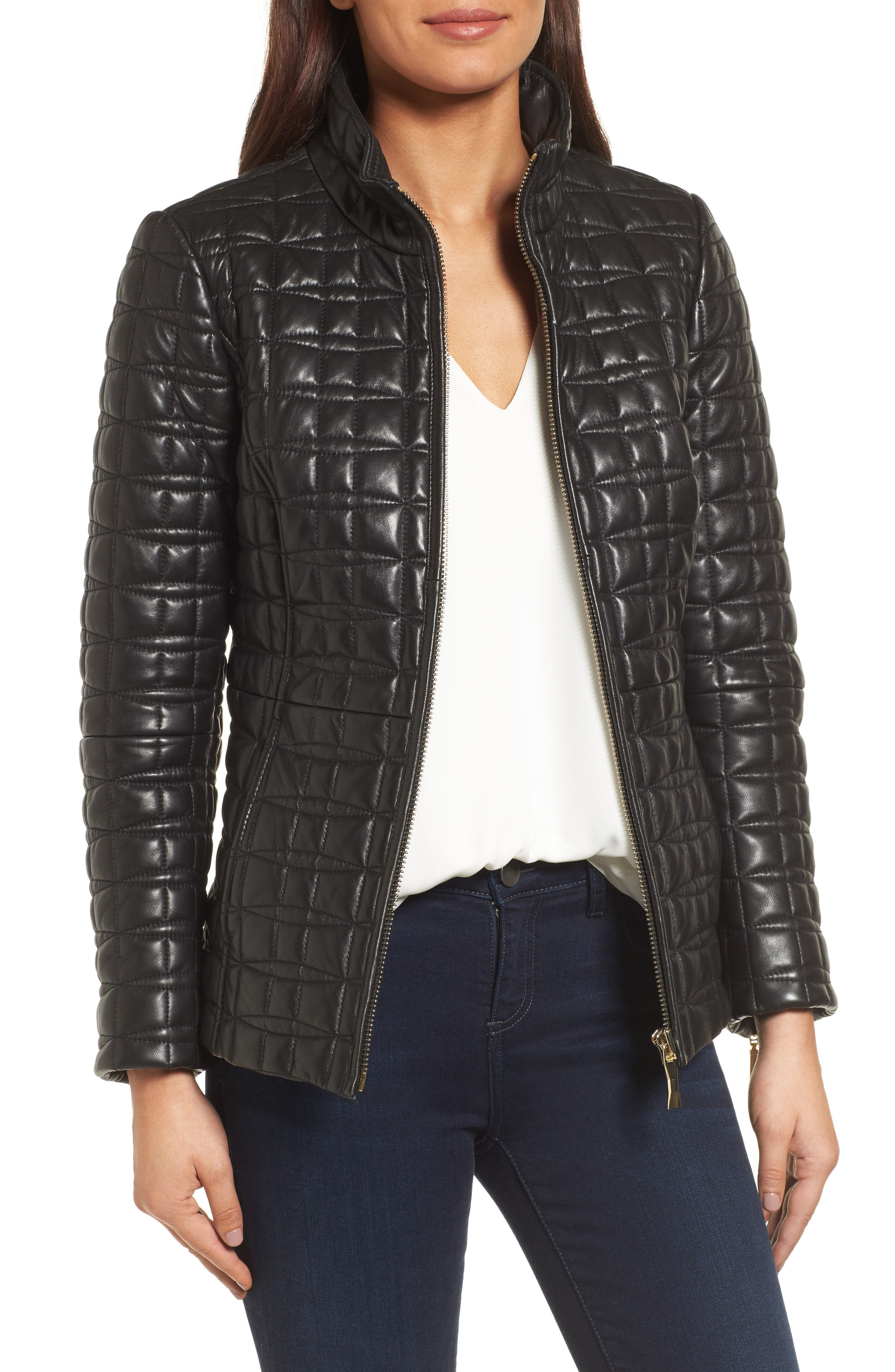 quilted leather jacket,                         Main,                         color, Black