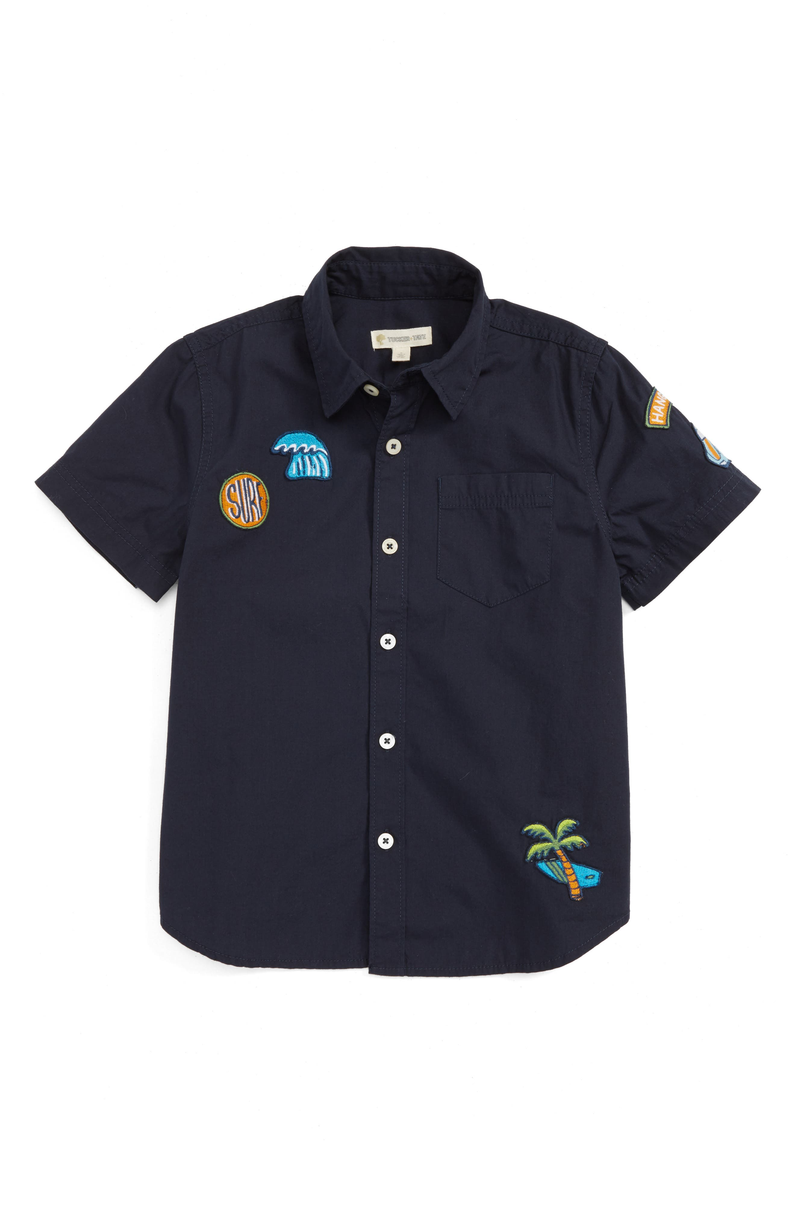 Surf Patch Woven Shirt,                         Main,                         color, Navy Night Surf Badges