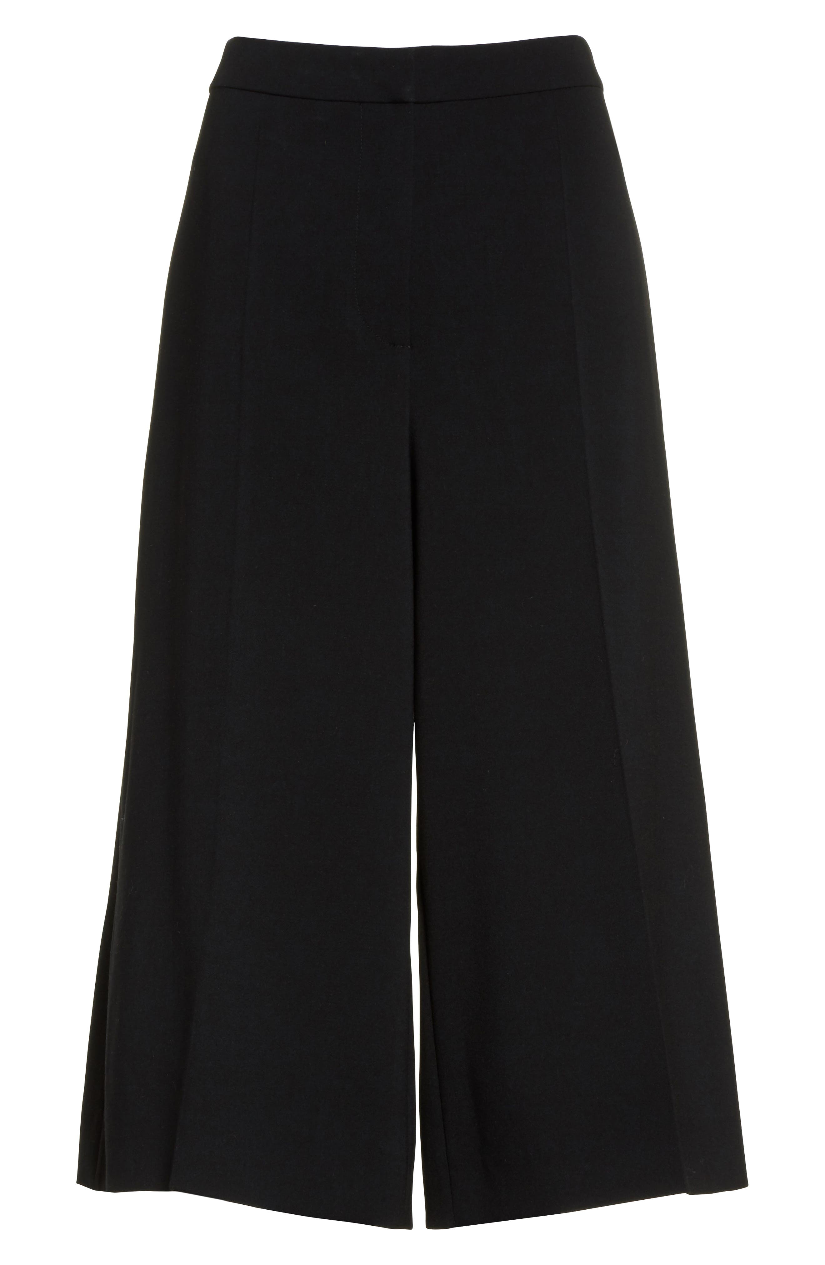Stretch Wool Culottes,                             Alternate thumbnail 4, color,                             Black