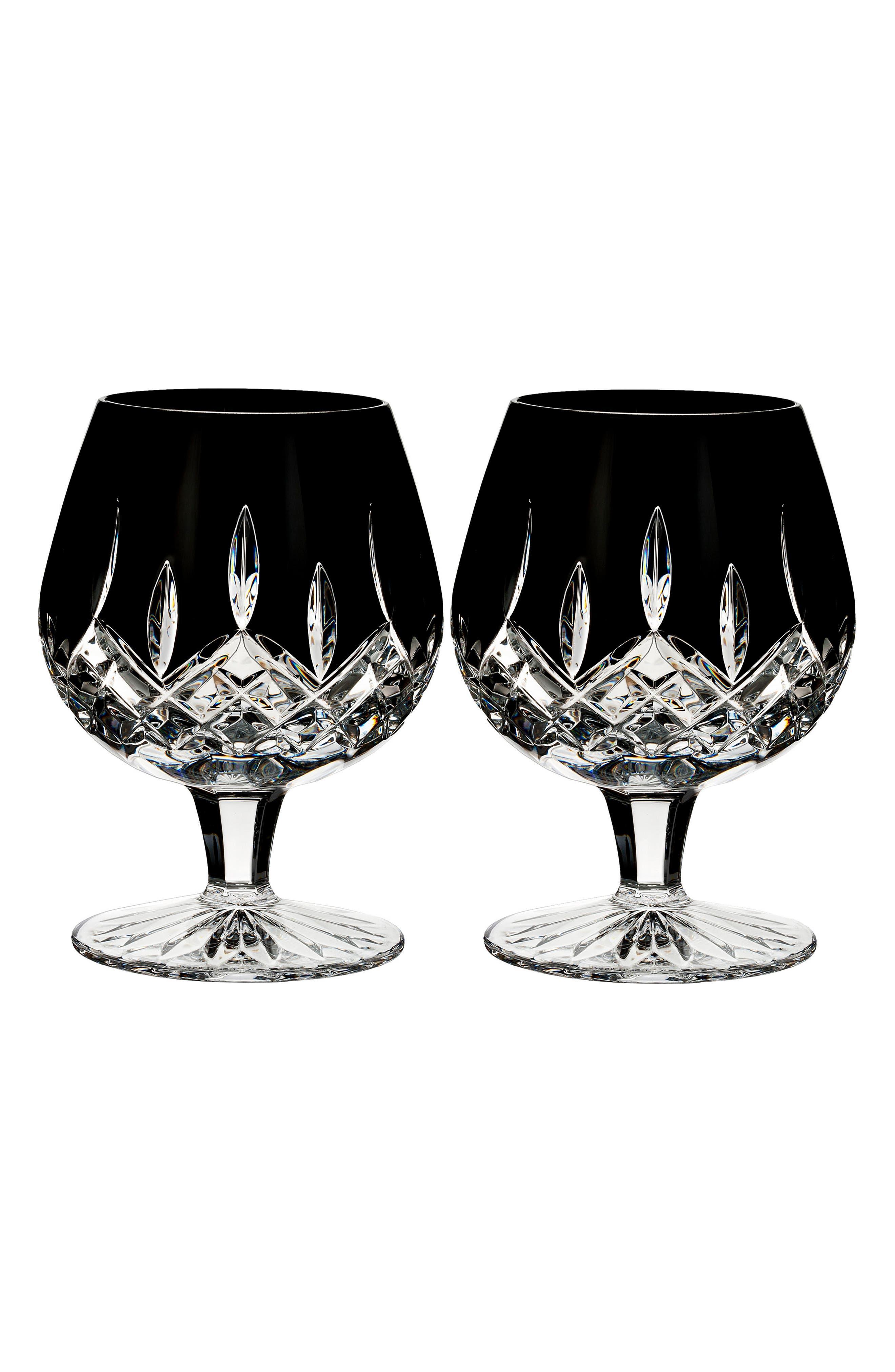 Lismore Diamond Set of 2 Black Lead Crystal Brandy Glasses,                         Main,                         color, Crystal