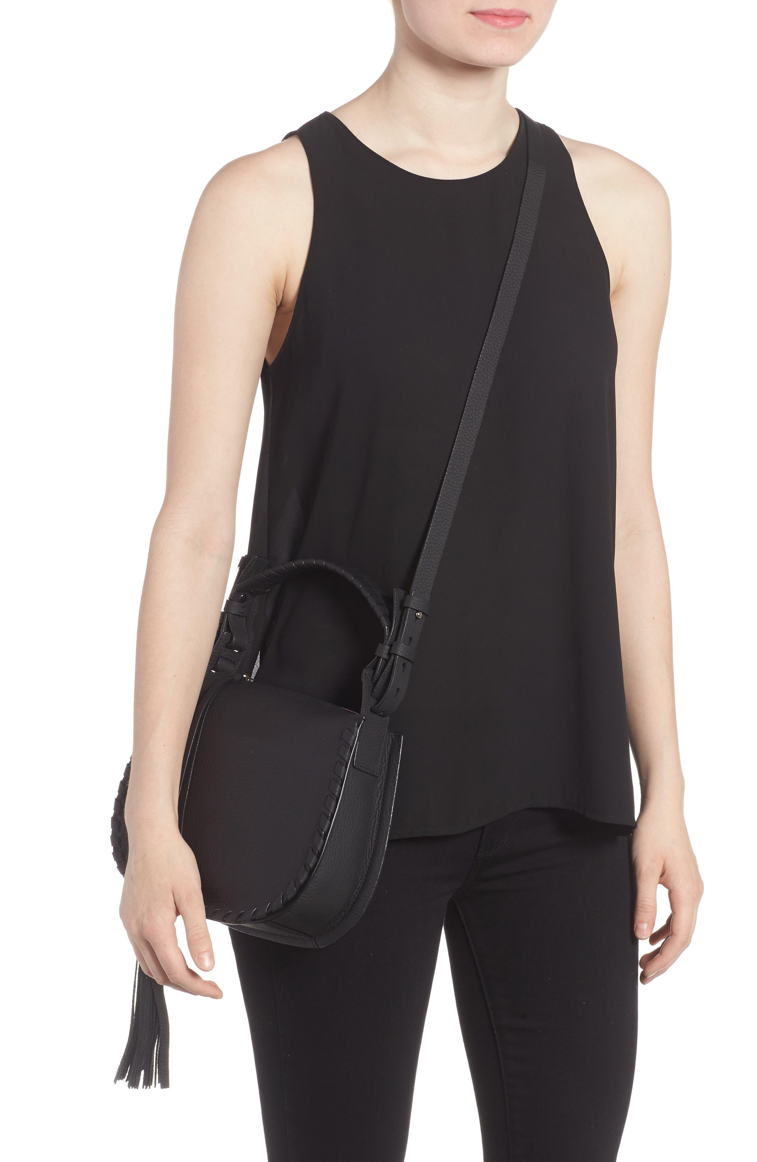 Mori Leather Crossbody Bag,                             Alternate thumbnail 2, color,                             Black