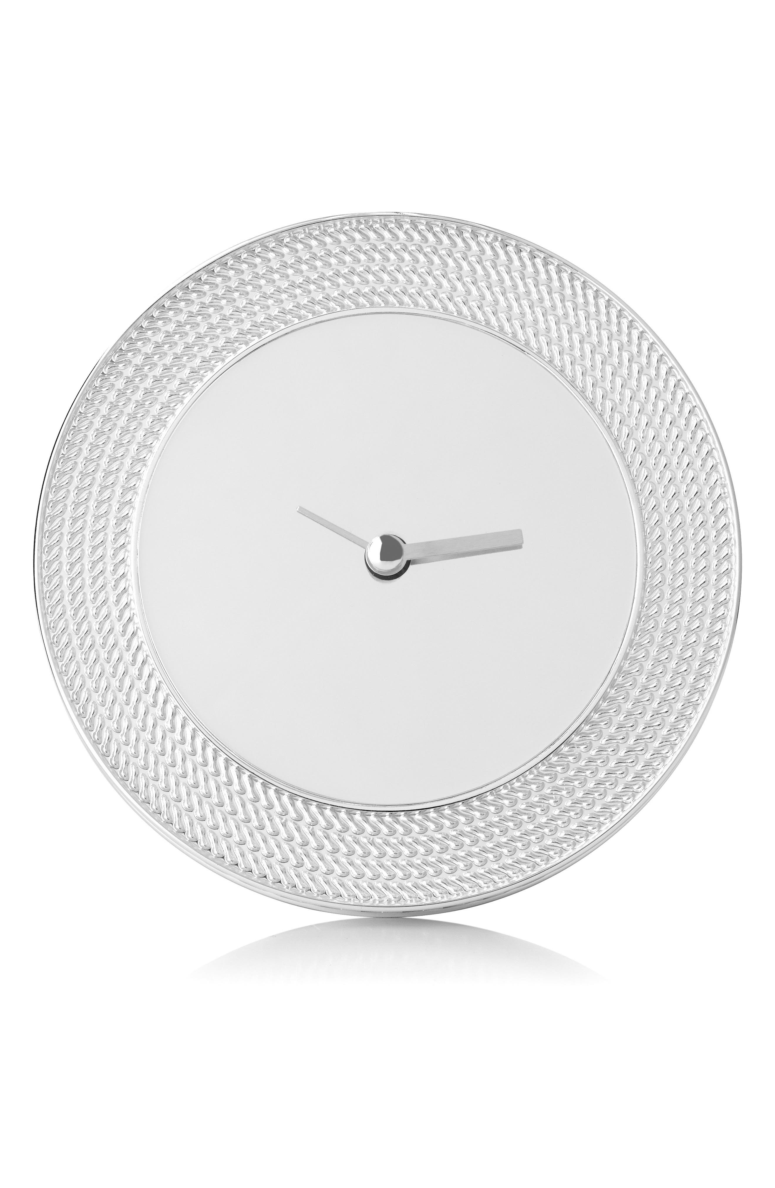 x Wedgwood With Love Nouveau Clock,                         Main,                         color, Metallic Silver