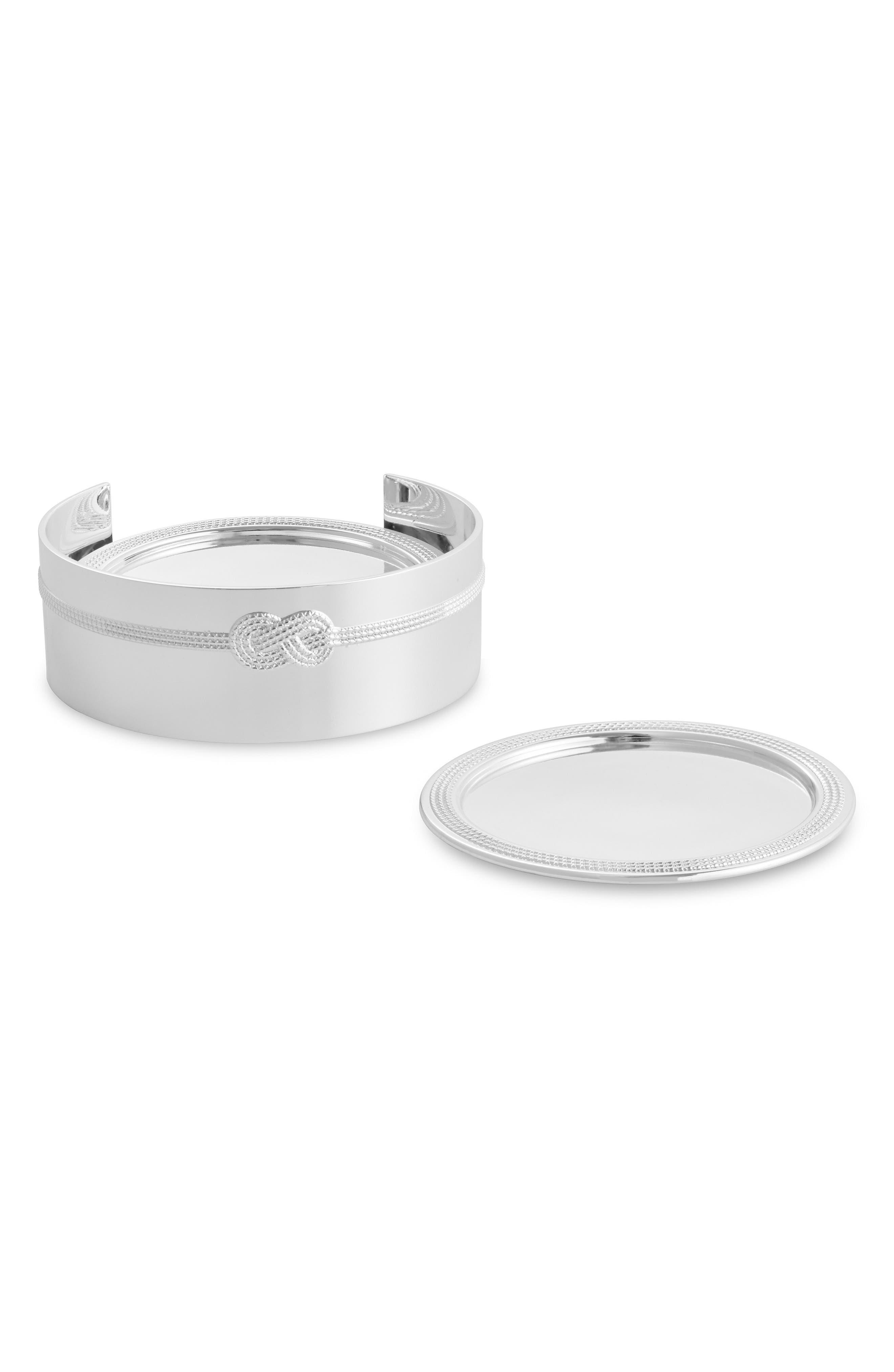 Vera Wang x Wedgwood Infinity Set of 4 Silver Plated Coasters