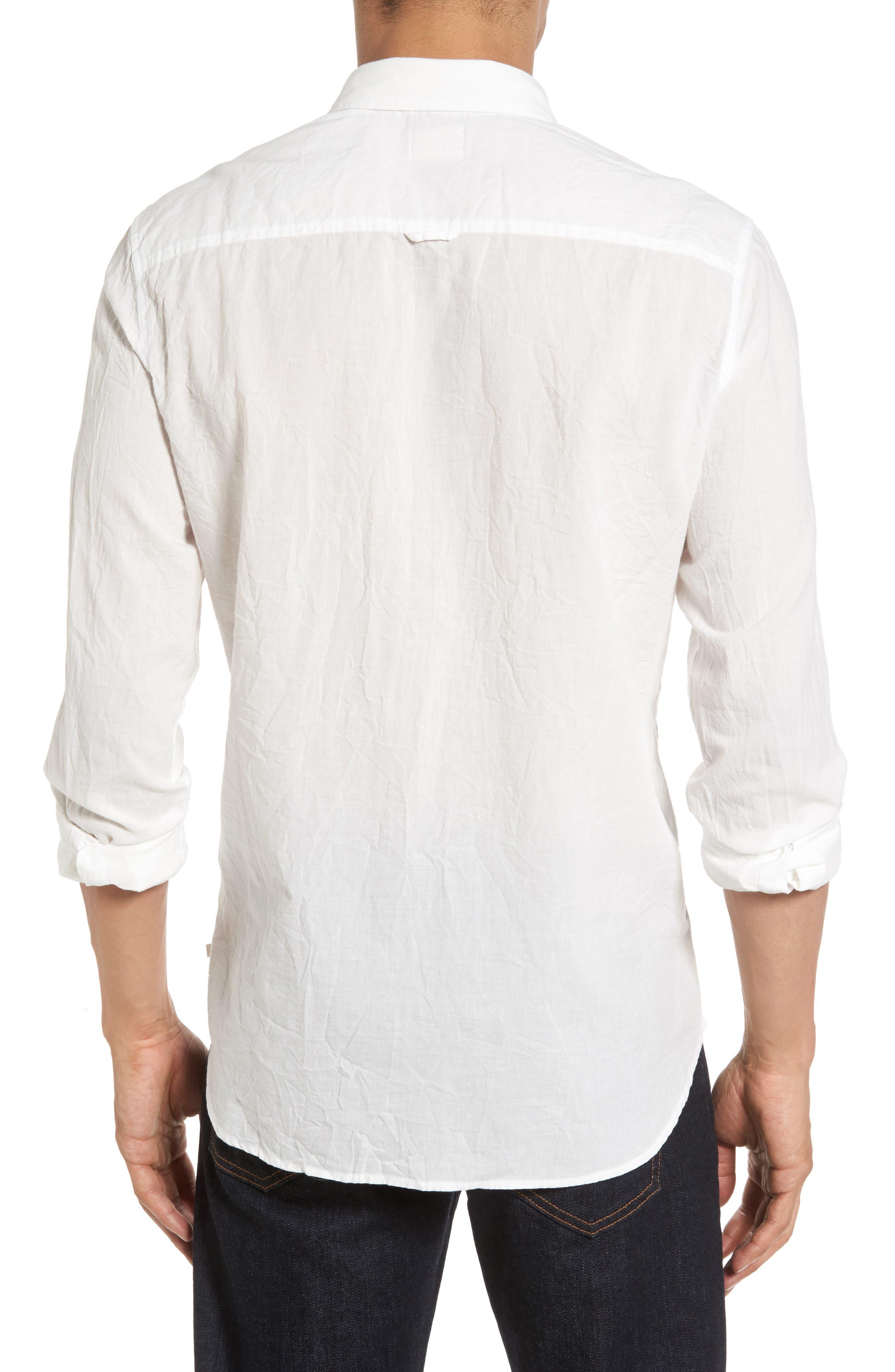 Grady Slim Fit Organic Cotton Sport Shirt,                             Alternate thumbnail 2, color,                             Crinkled True White
