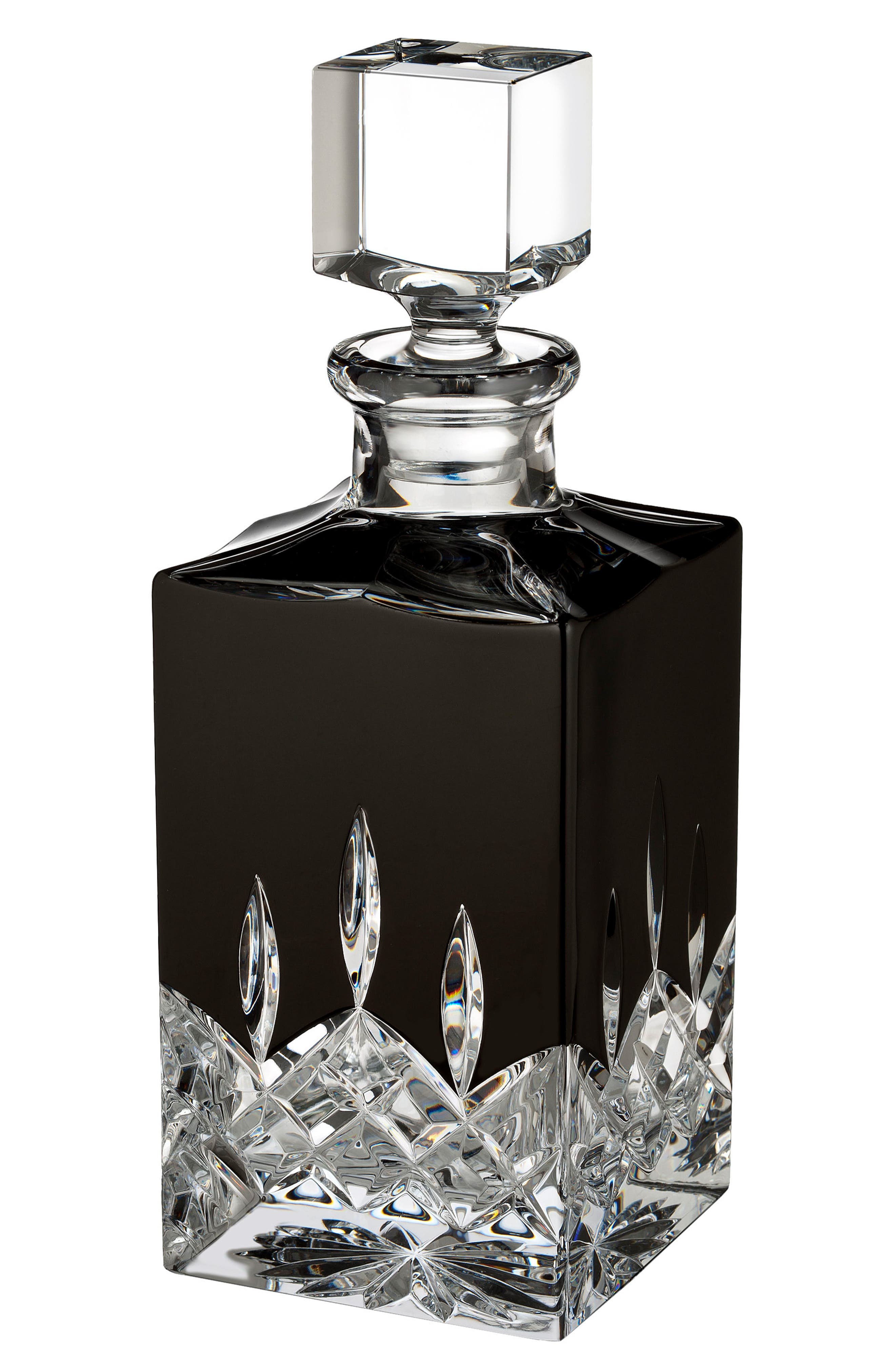 Lismore Black Square Lead Crystal Decanter,                         Main,                         color, Crystal