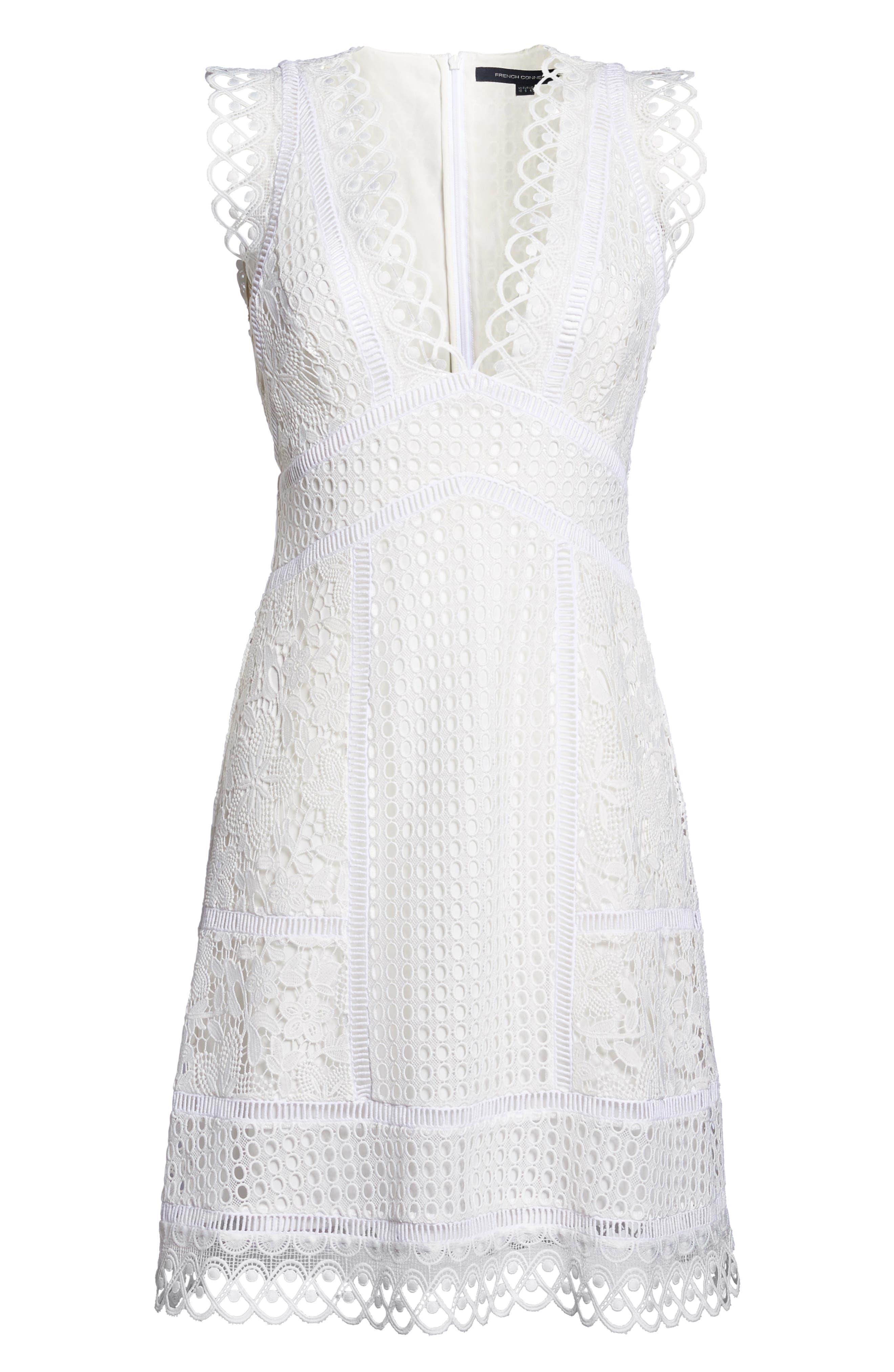 Zahra Fit & Flare Dress,                             Alternate thumbnail 6, color,                             Summer White