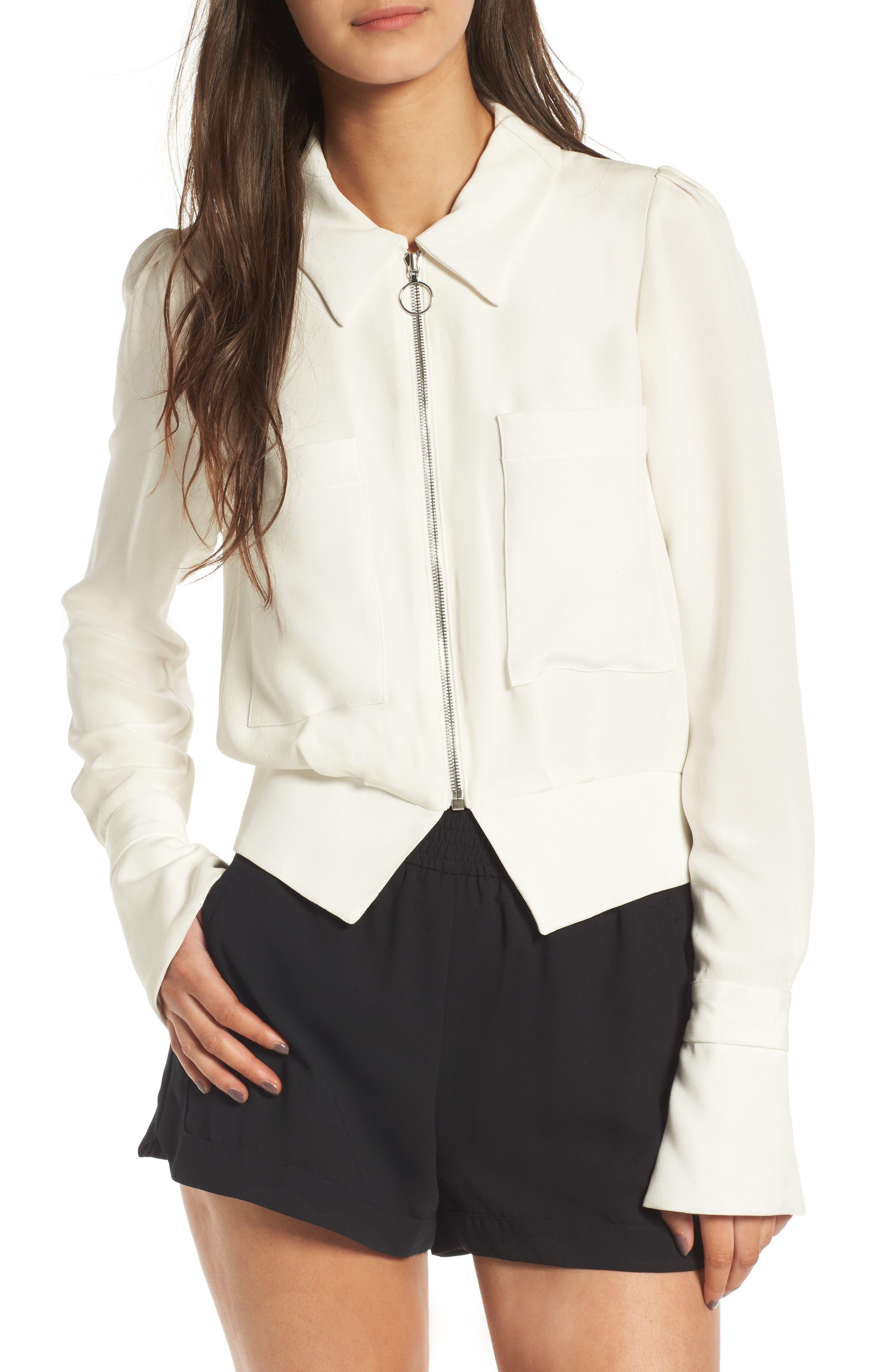 Harbor Silk Jacket,                             Main thumbnail 1, color,                             White Silk