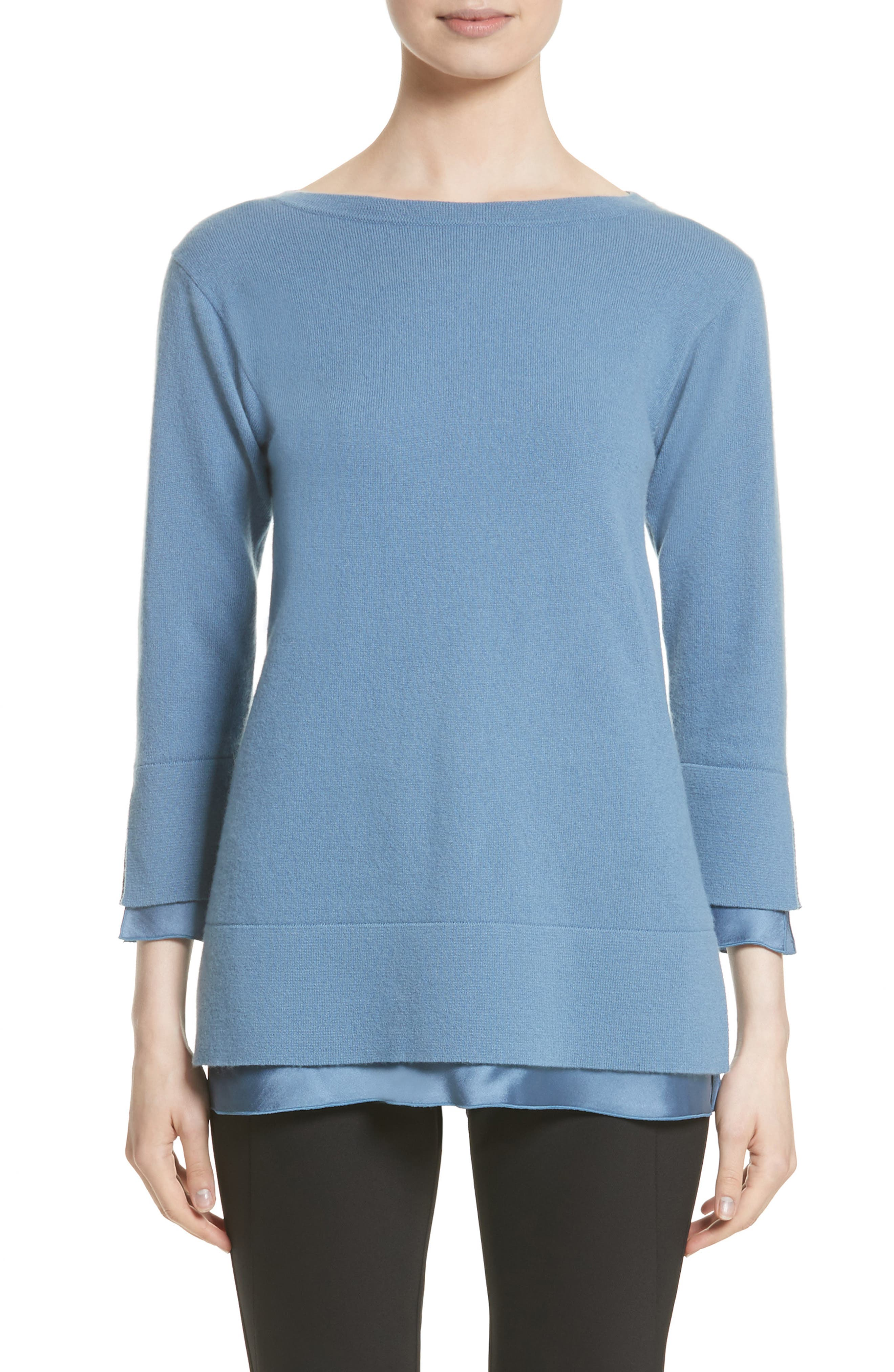 Lafayette 148 New York Charmeuse Trim Cashmere Sweater (Nordstrom Exclusive)