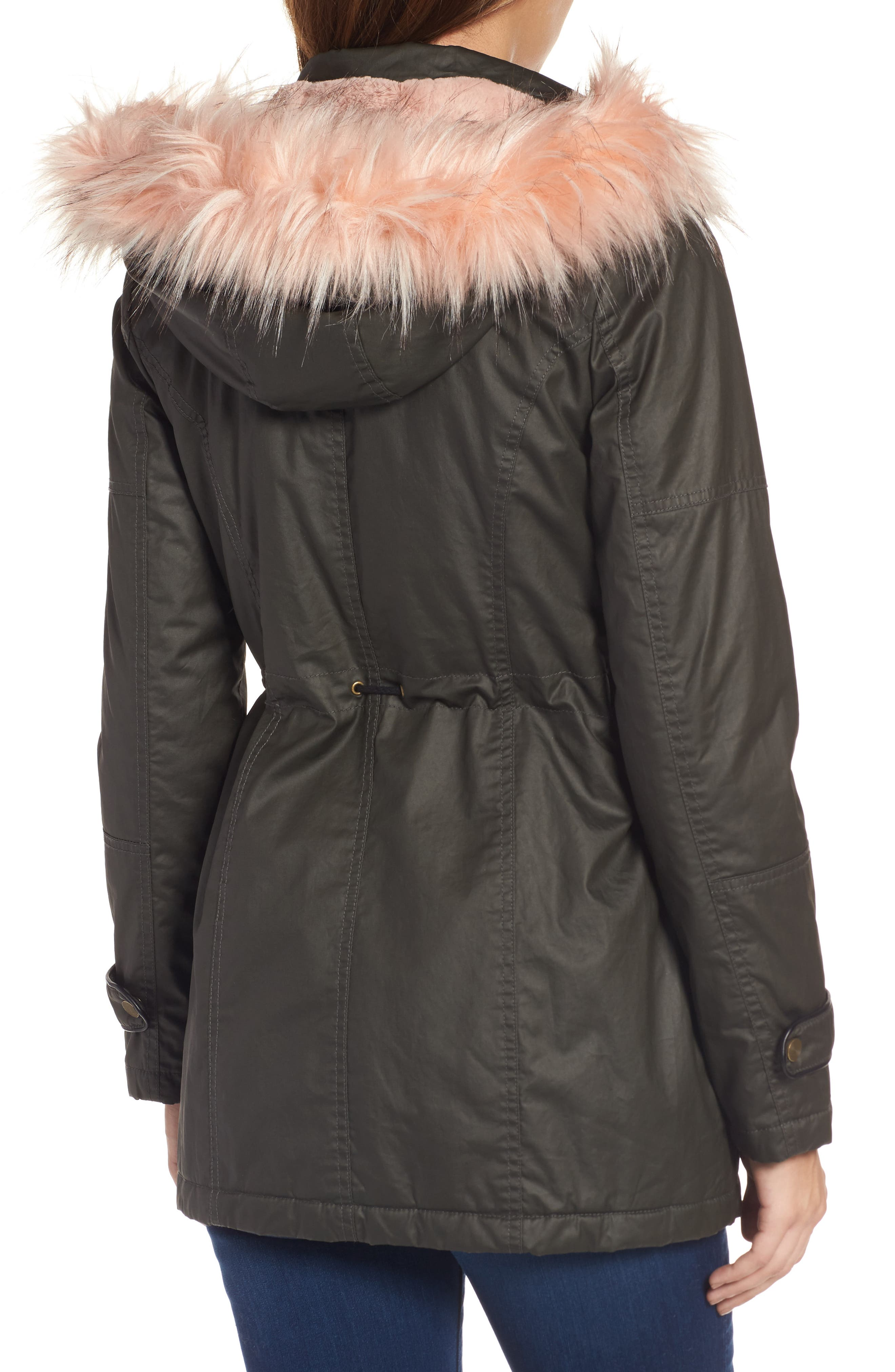 Waxed Cotton Parka with Faux Fur Hood,                             Alternate thumbnail 2, color,                             Olive