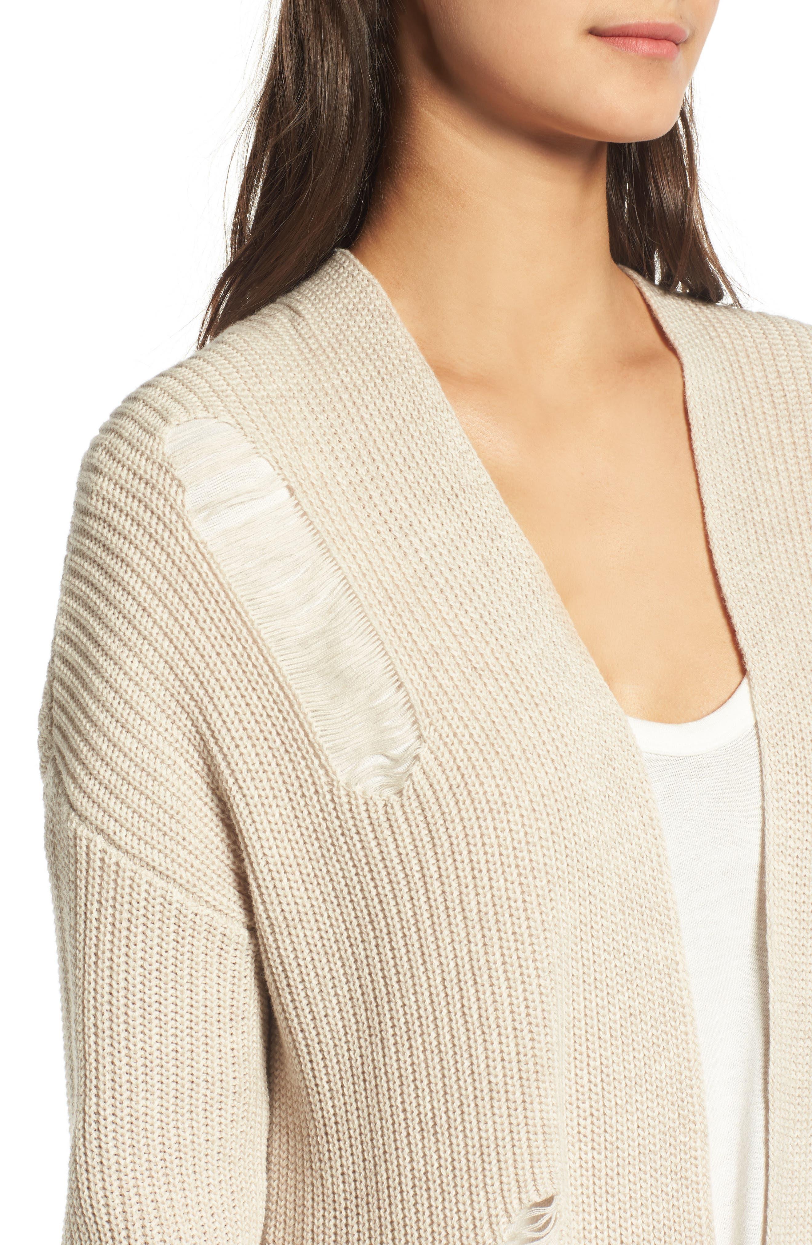 Alternate Image 4  - BP. Distressed Cotton Cardigan