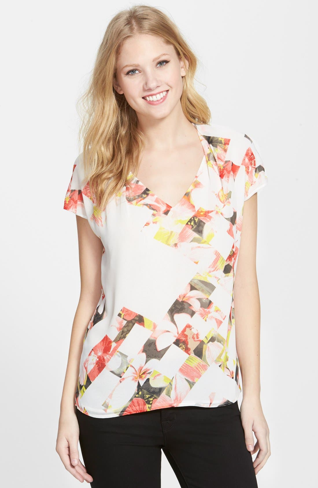 Alternate Image 1 Selected - Vince Camuto 'Broken Photo' Floral Print Cap Sleeve Blouse (Regular & Petite)