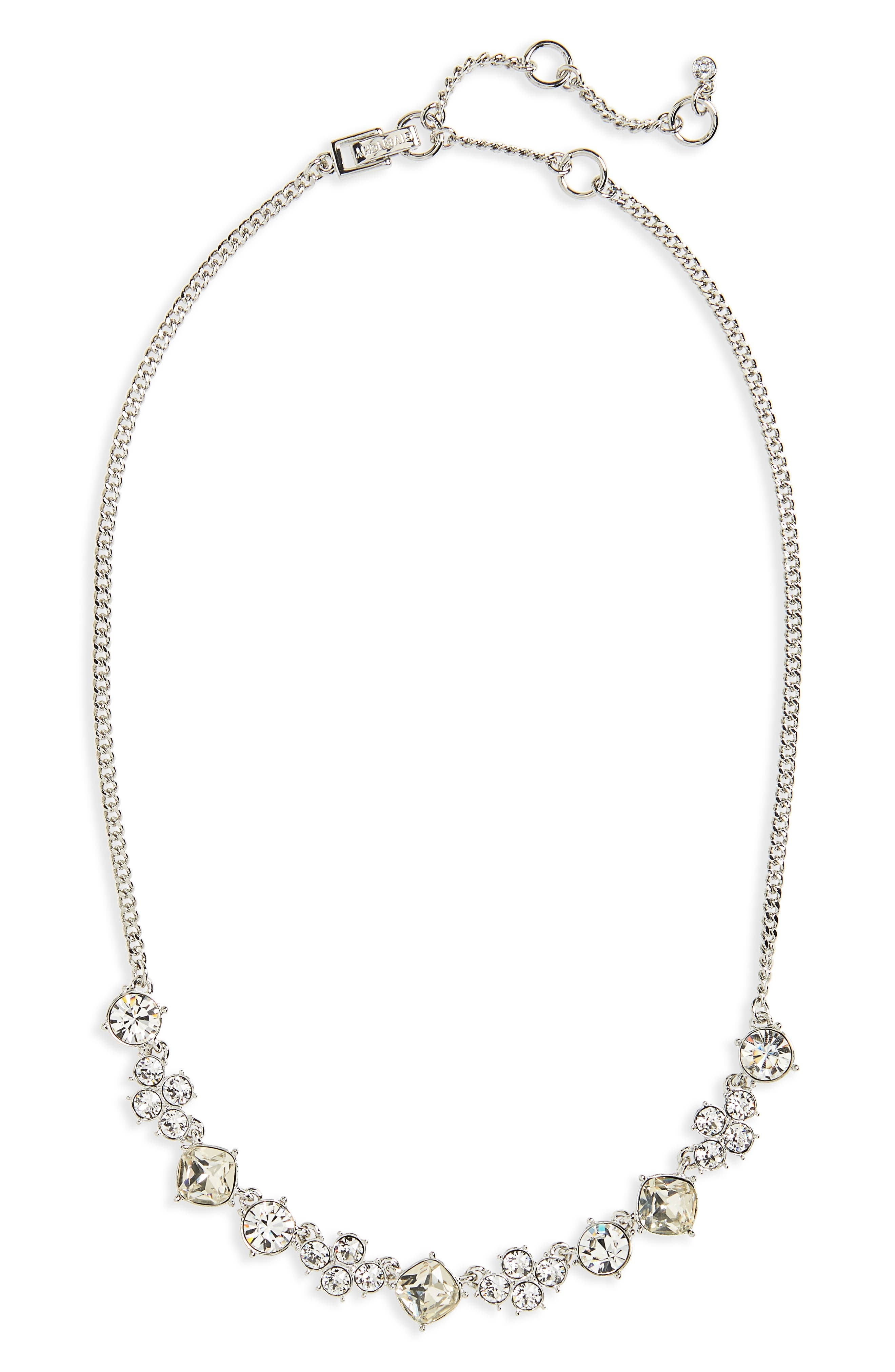 Devon Frontal Necklace,                             Main thumbnail 1, color,                             Clear / Silver