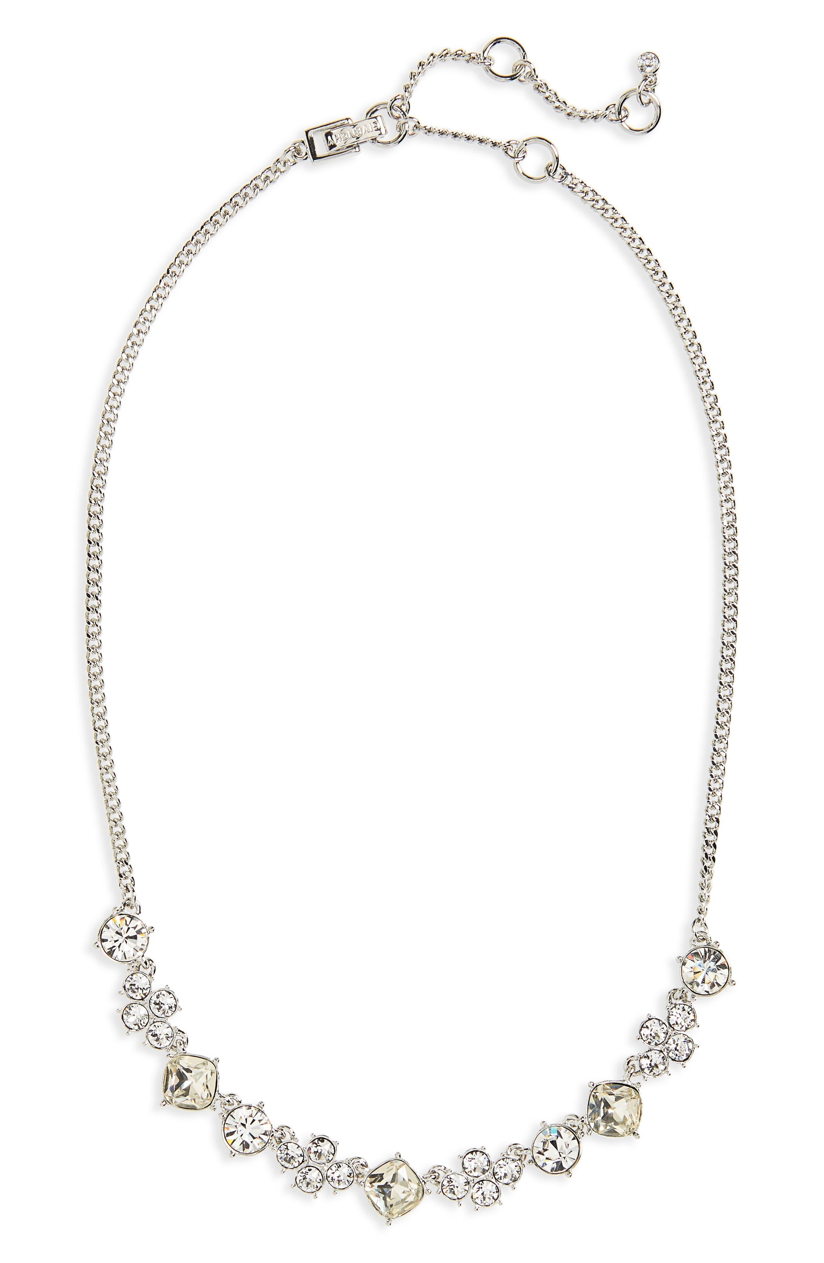 Devon Frontal Necklace,                         Main,                         color, Clear / Silver