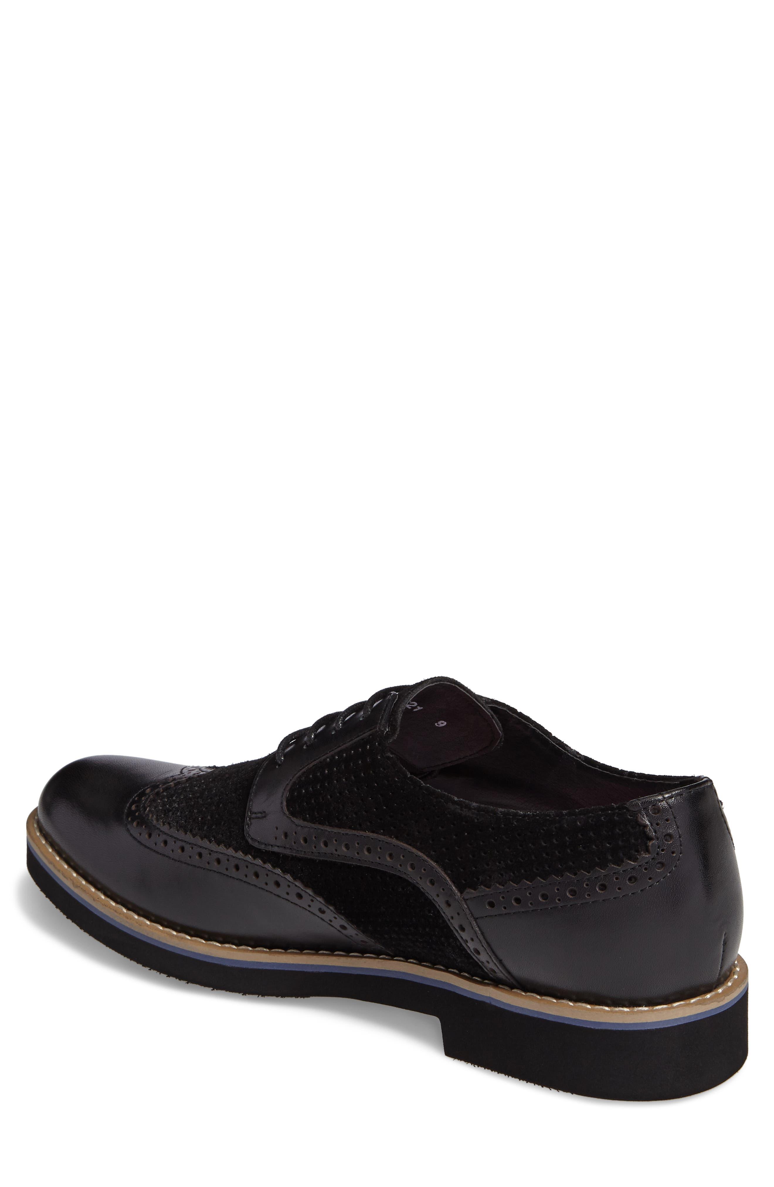 Maritime Spectator Shoe,                             Alternate thumbnail 2, color,                             Black Leather