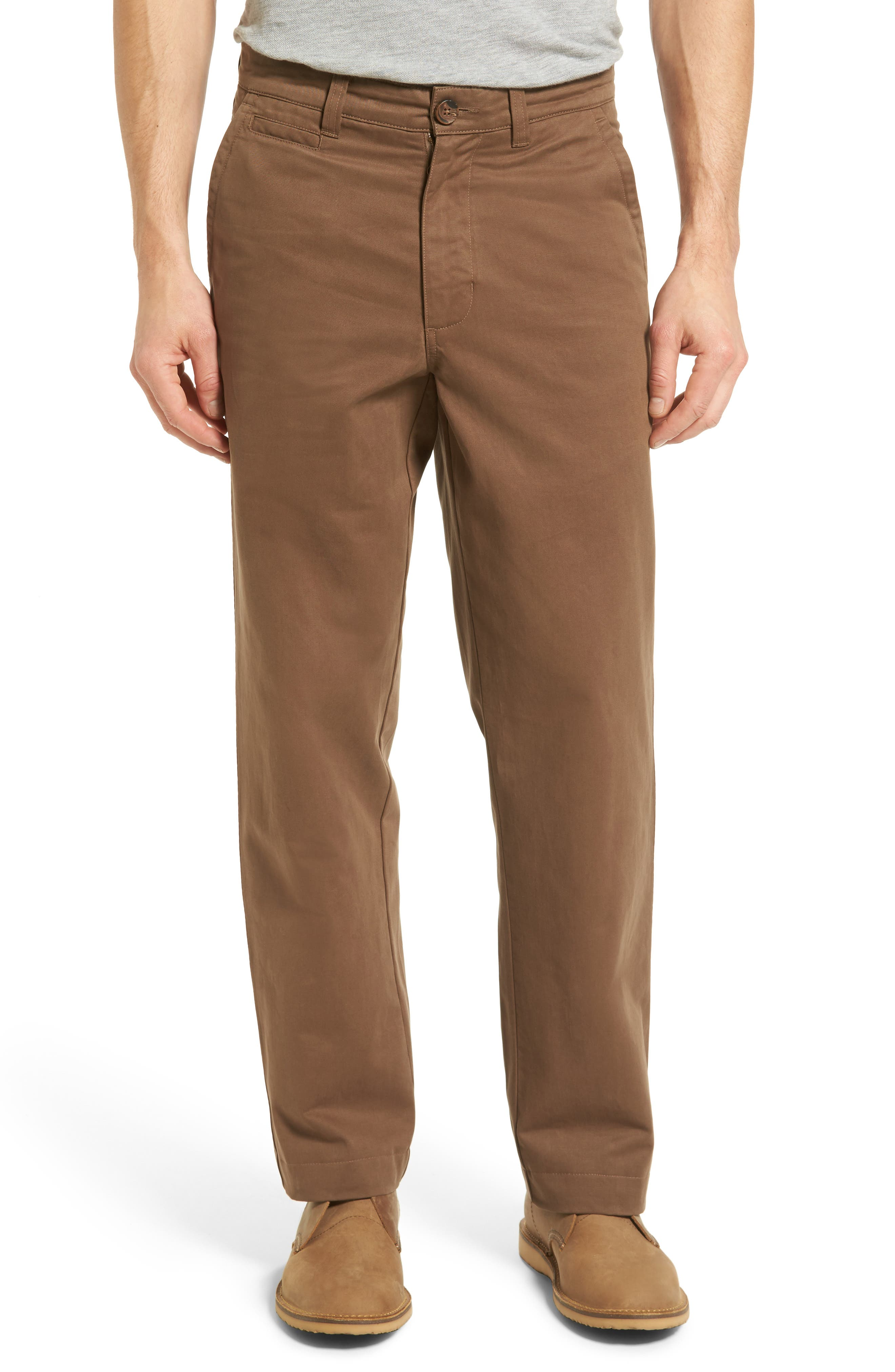VINTAGE 1946 Classic Fit Military Chinos in Moss