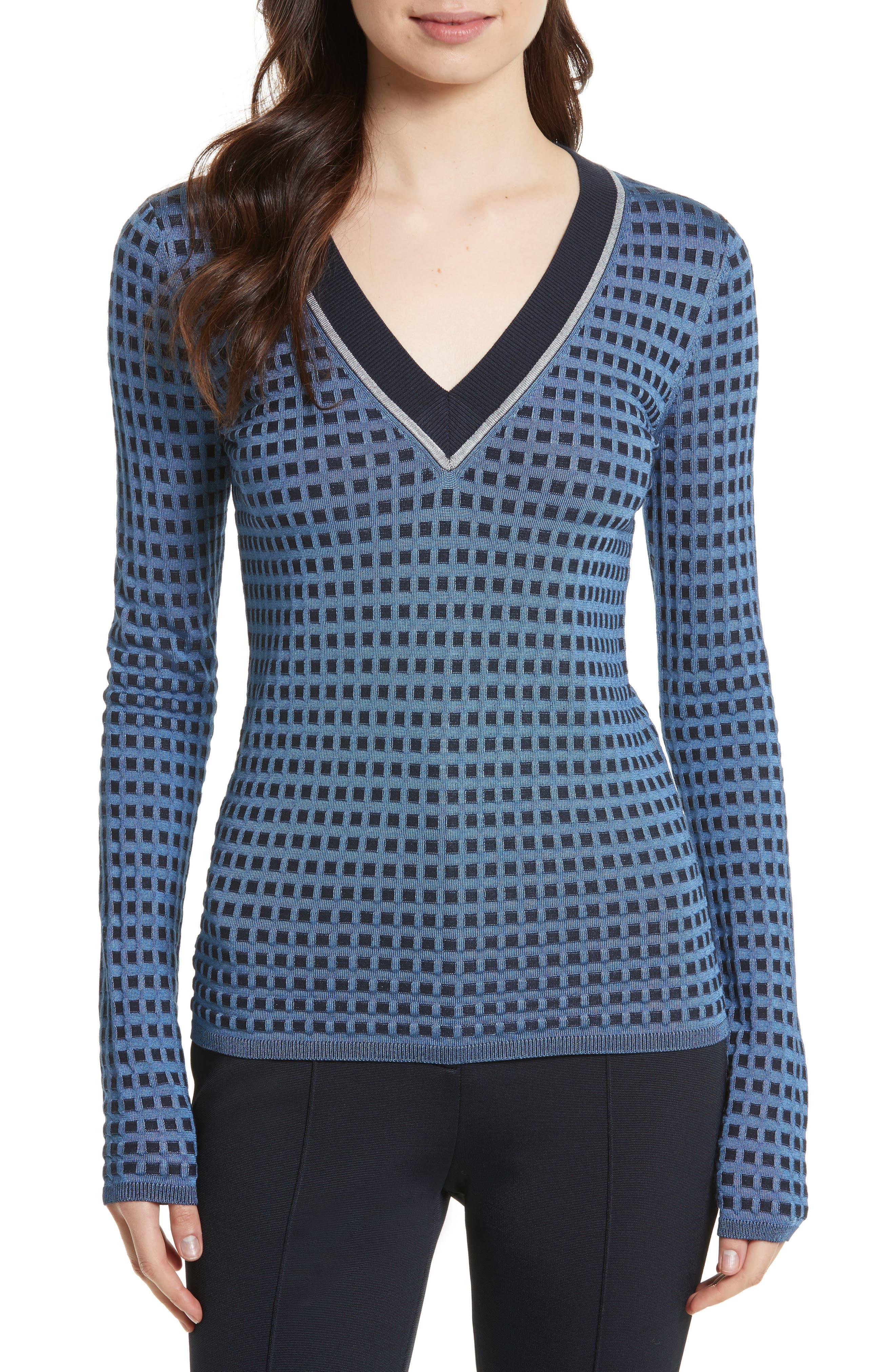 Main Image - Diane von Furstenberg Banded V-Neck Sweater