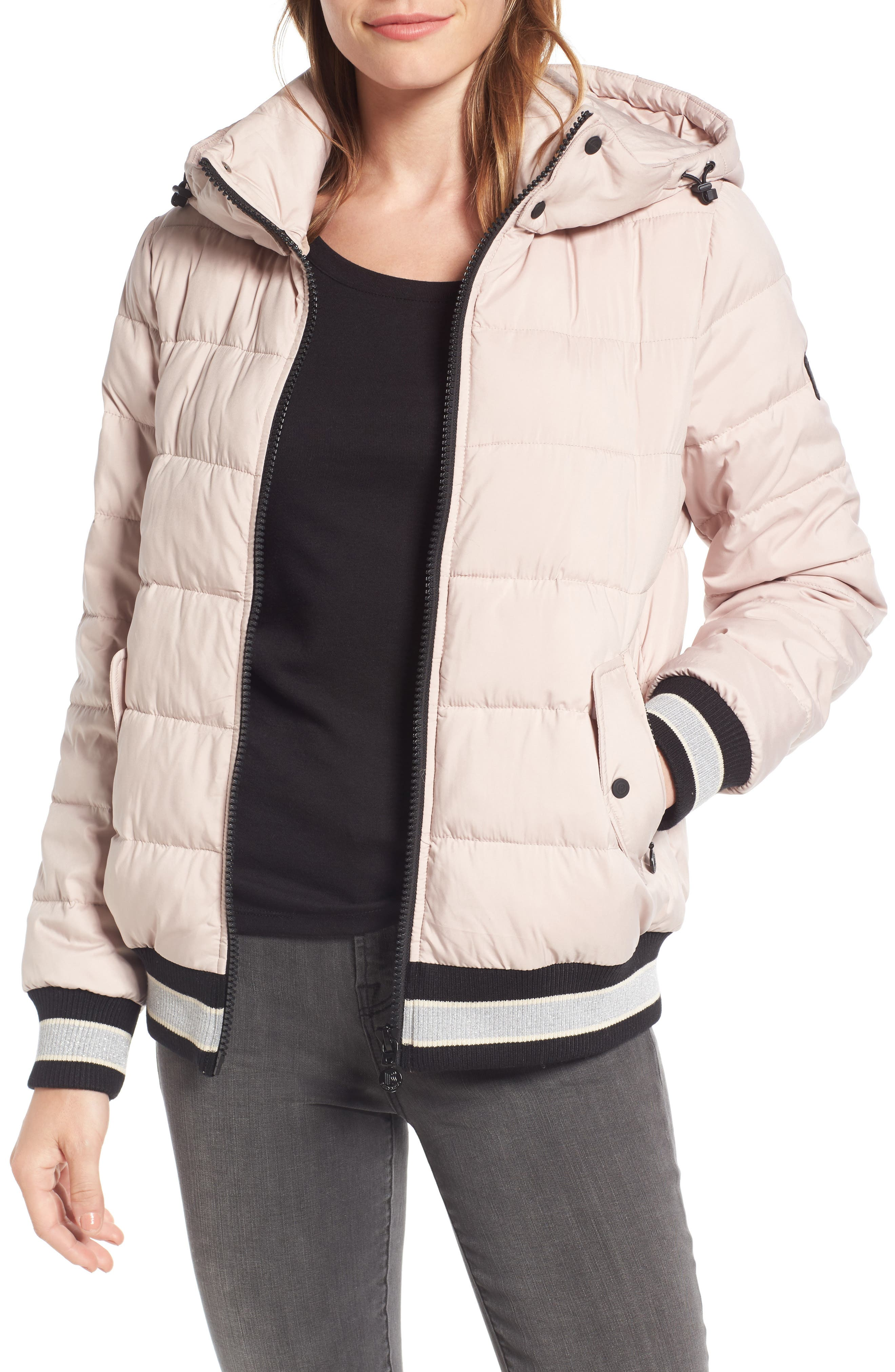 Micro Touch Hooded Quilted Bomber Jacket,                             Main thumbnail 1, color,                             Petal Pink