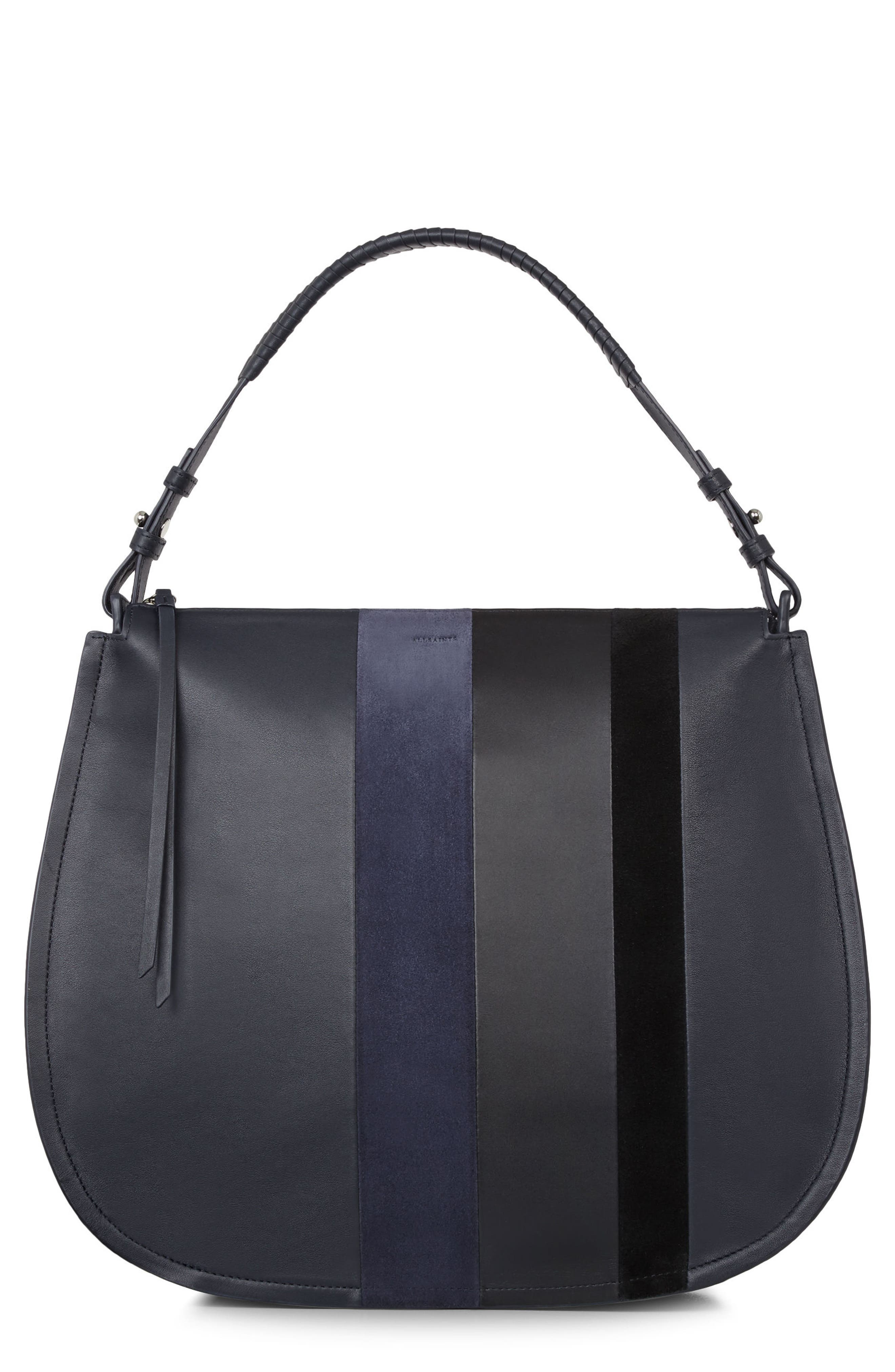 Main Image - ALLSAINTS Casey Calfskin Leather & Suede Hobo