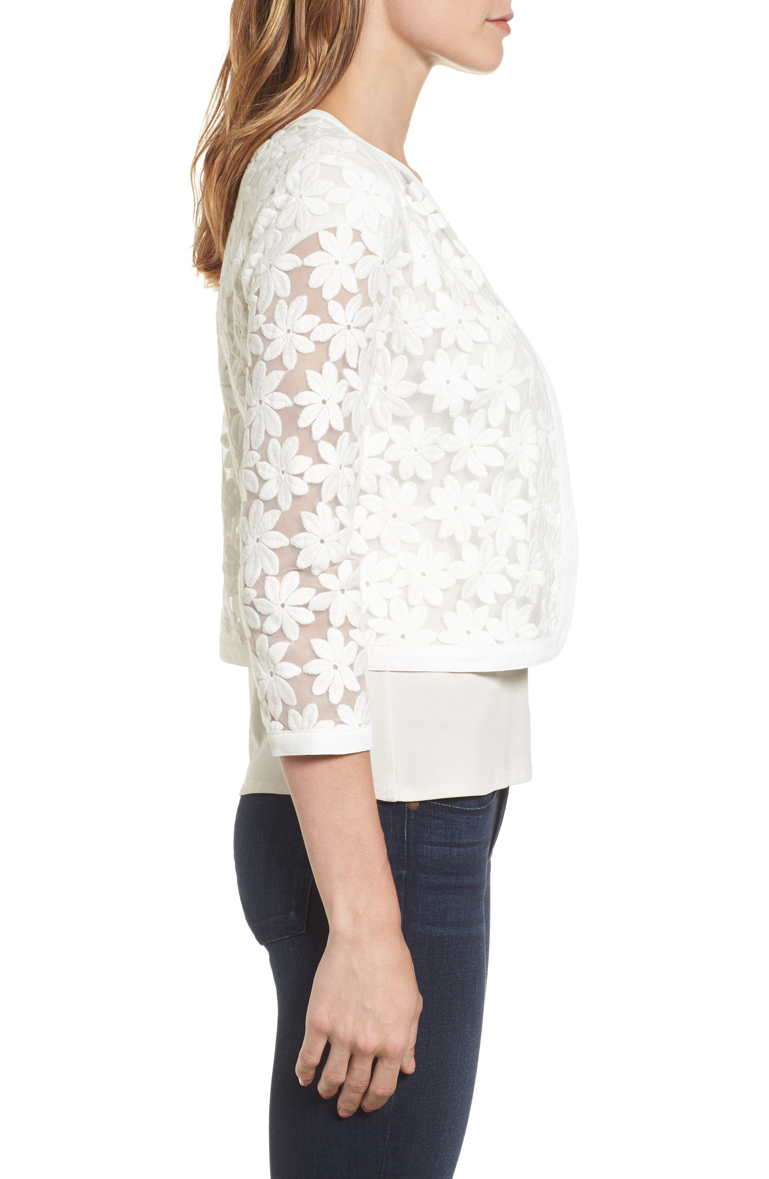 Alternate Image 3  - Anne Klein Floral Embroidered Mesh Cardigan