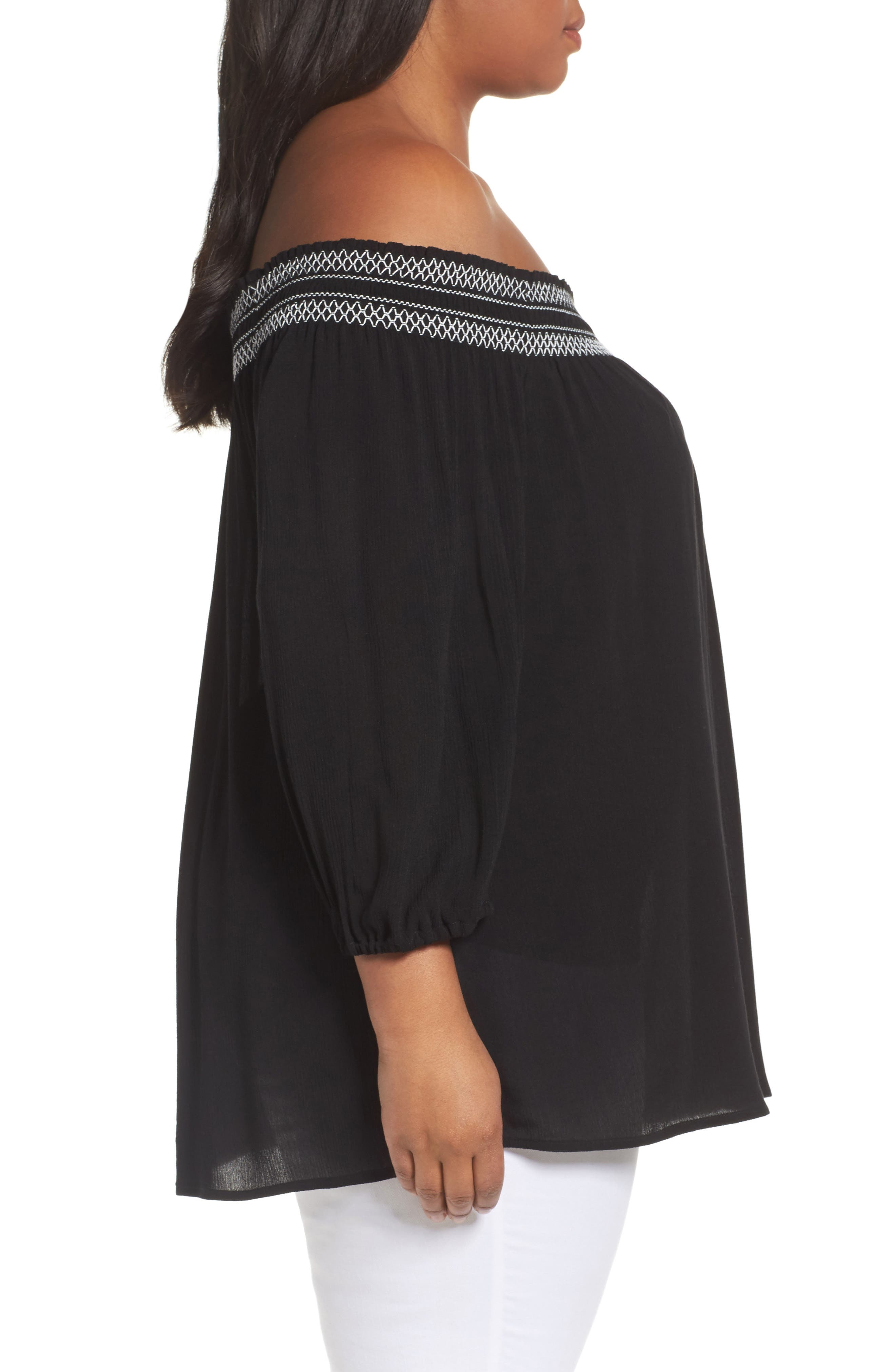 Off the Shoulder Blouse,                             Alternate thumbnail 3, color,                             Black