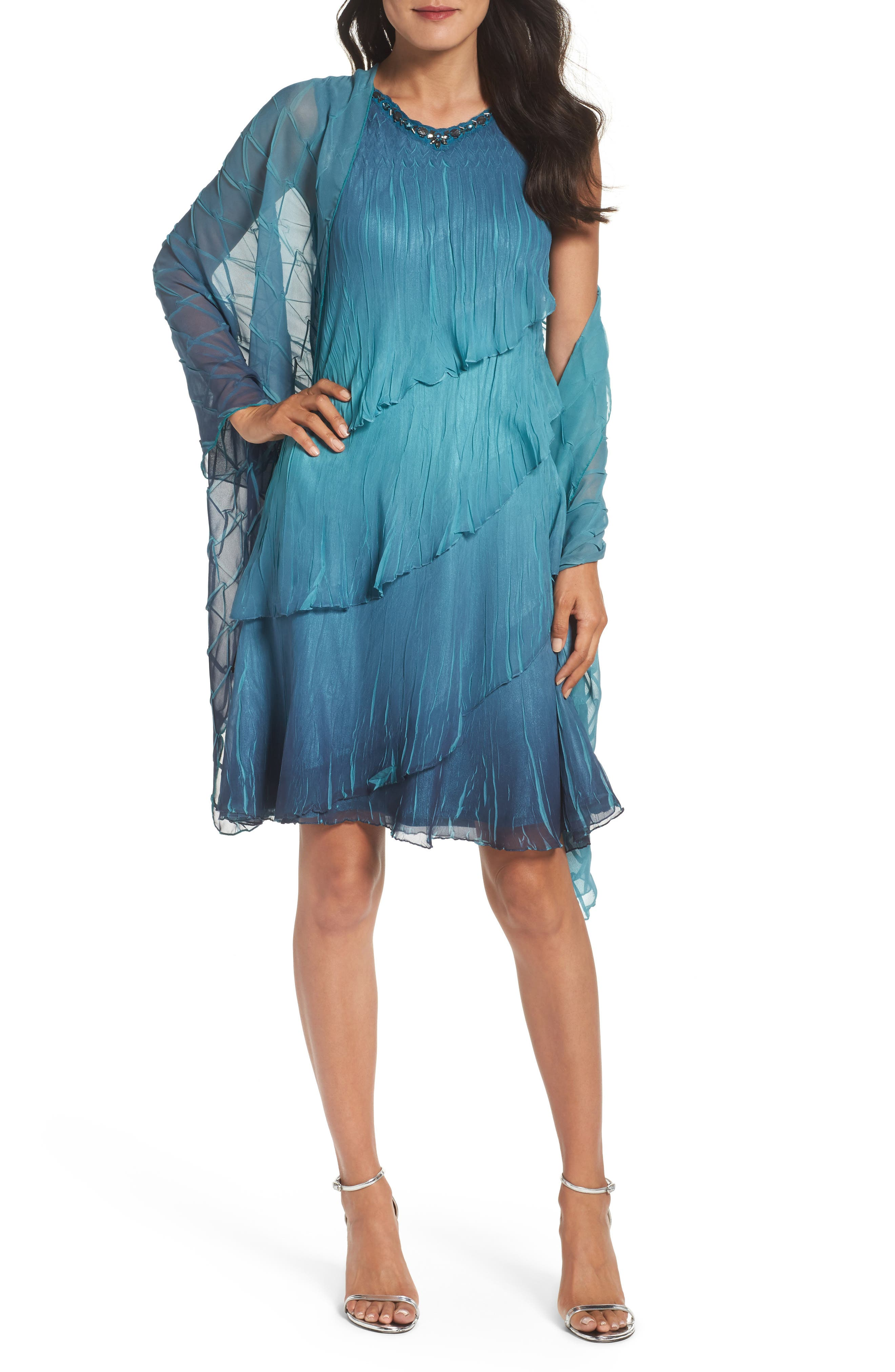 Tiered Chiffon Shift Dress with Shawl,                         Main,                         color, Marine Night Ombre