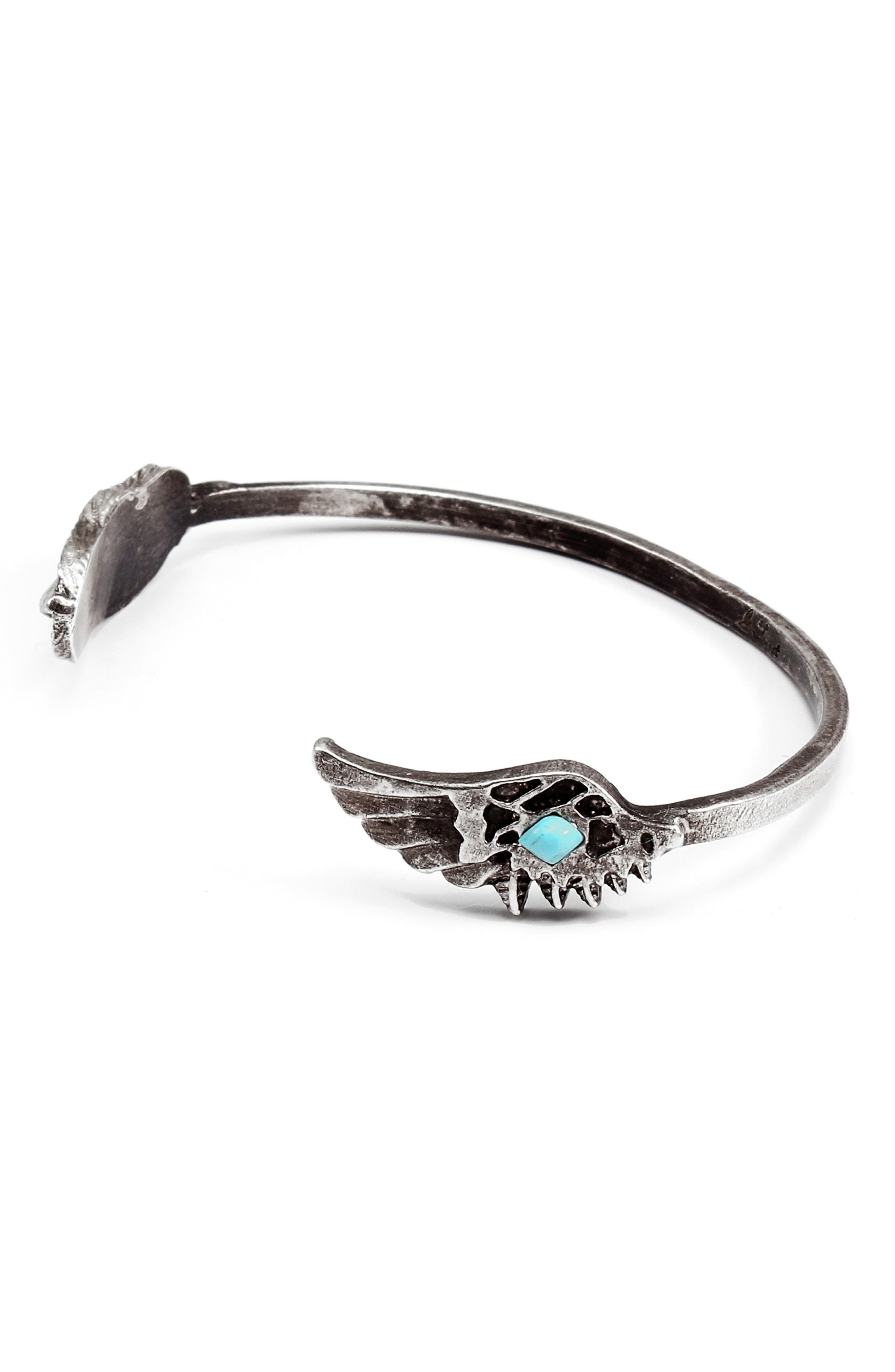 Nomad Cuff Bracelet,                             Alternate thumbnail 2, color,                             Silver / Turquoise