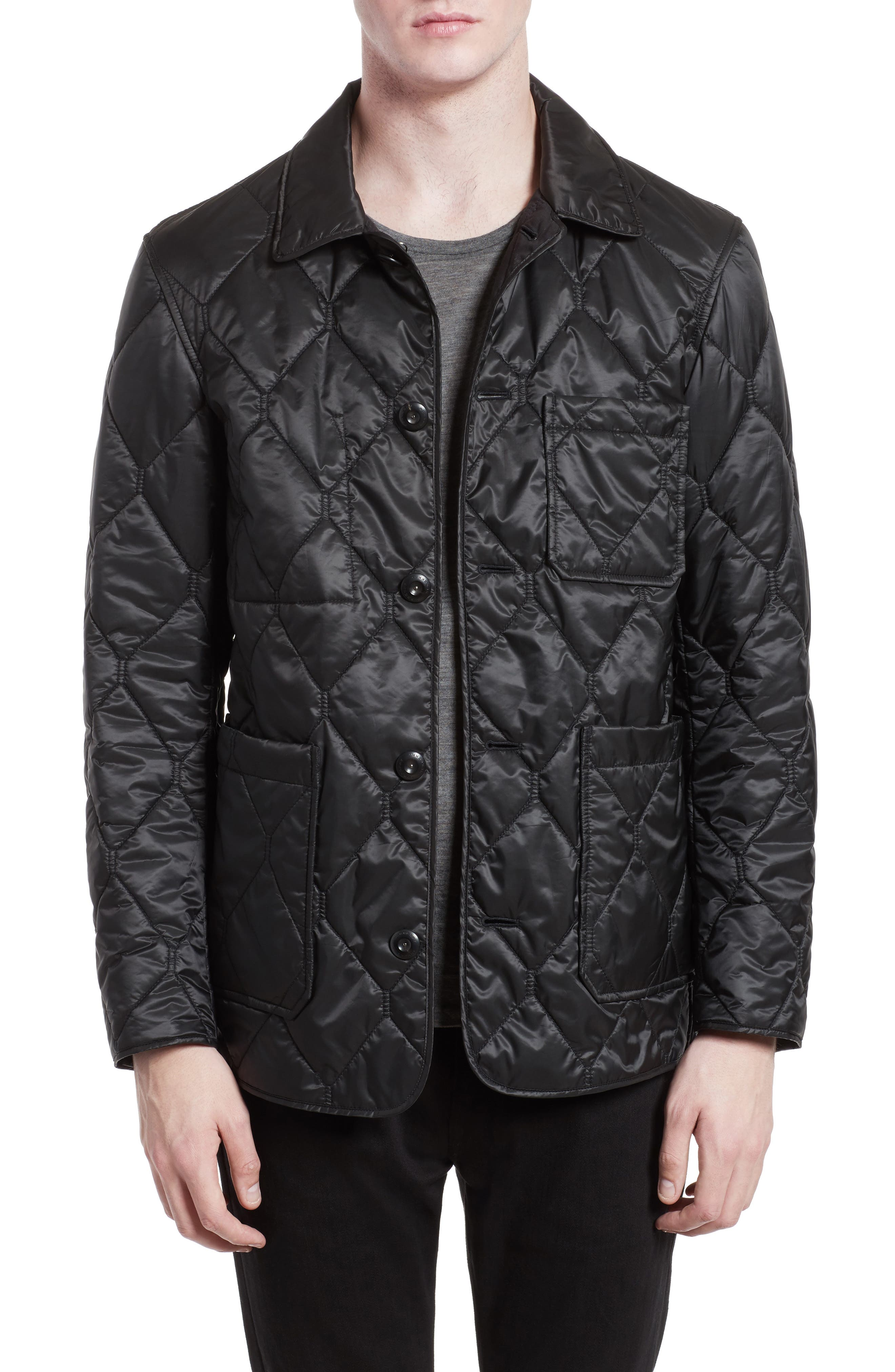 Rushton Trim Fit Quilted Jacket,                         Main,                         color, Black