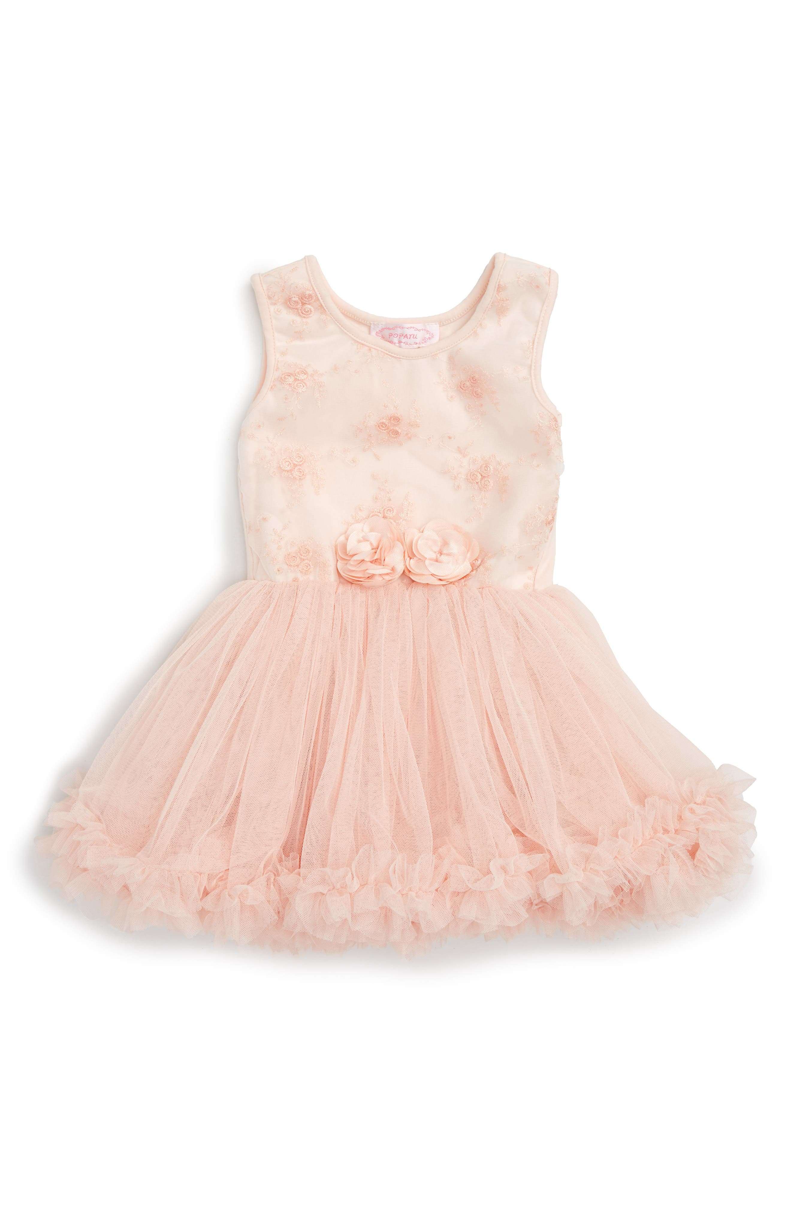 Tulle Dress,                             Main thumbnail 1, color,                             Peach
