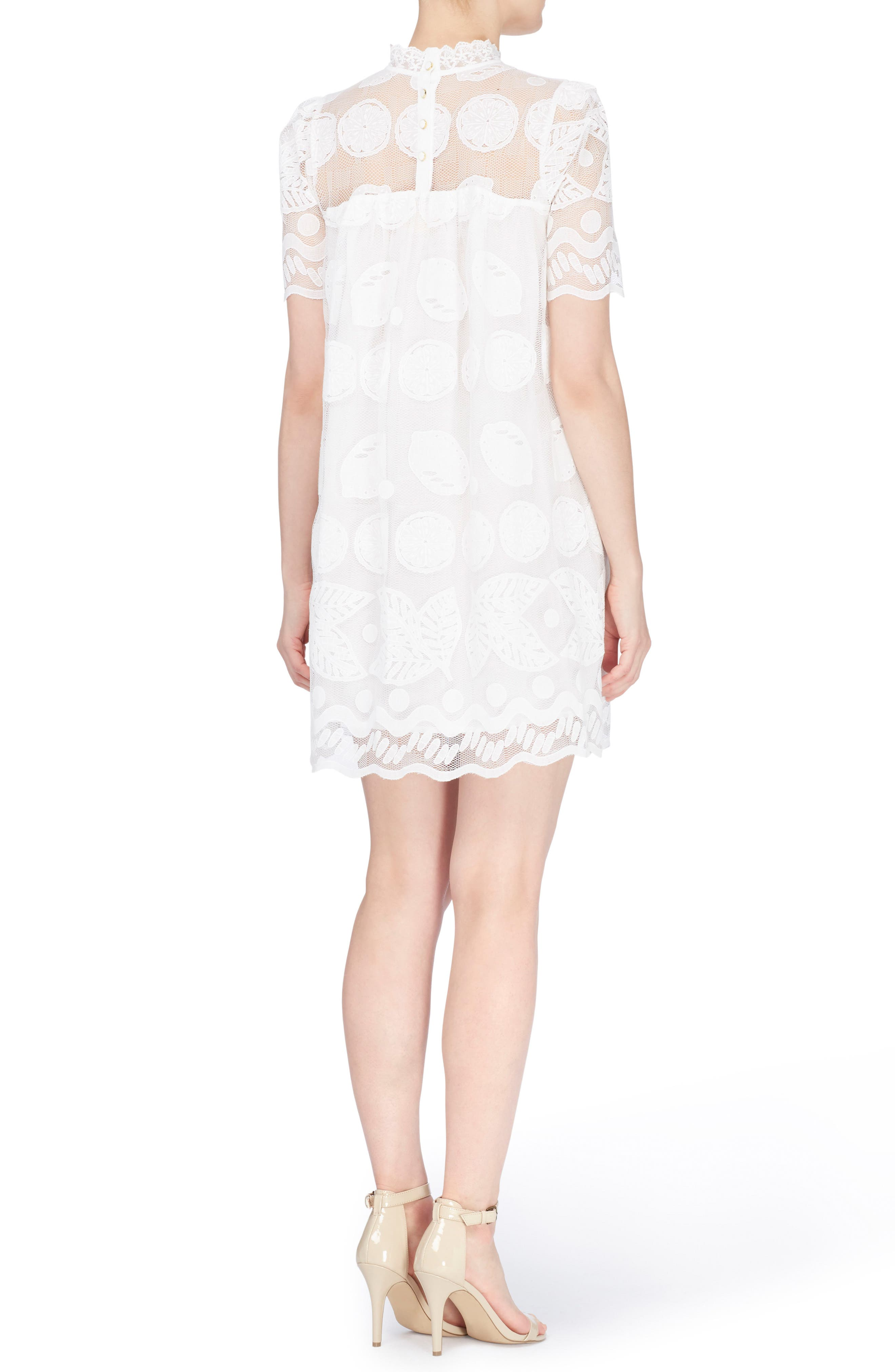 Mona Embroidered Lace Shift Dress,                             Alternate thumbnail 2, color,                             Bright White