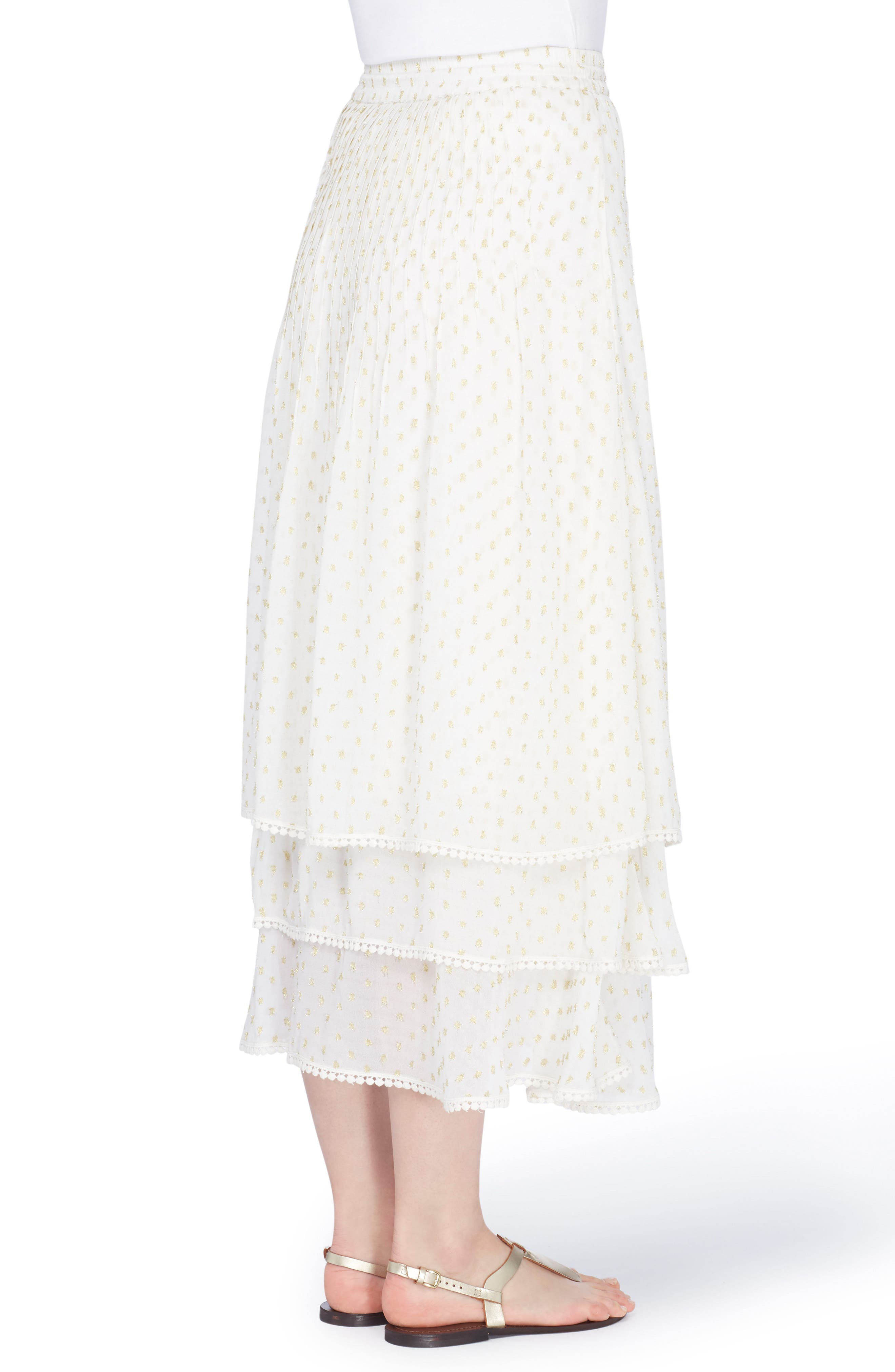 Berbas Clipped Jacquard Tiered Skirt,                             Alternate thumbnail 2, color,                             Off White/ Gold