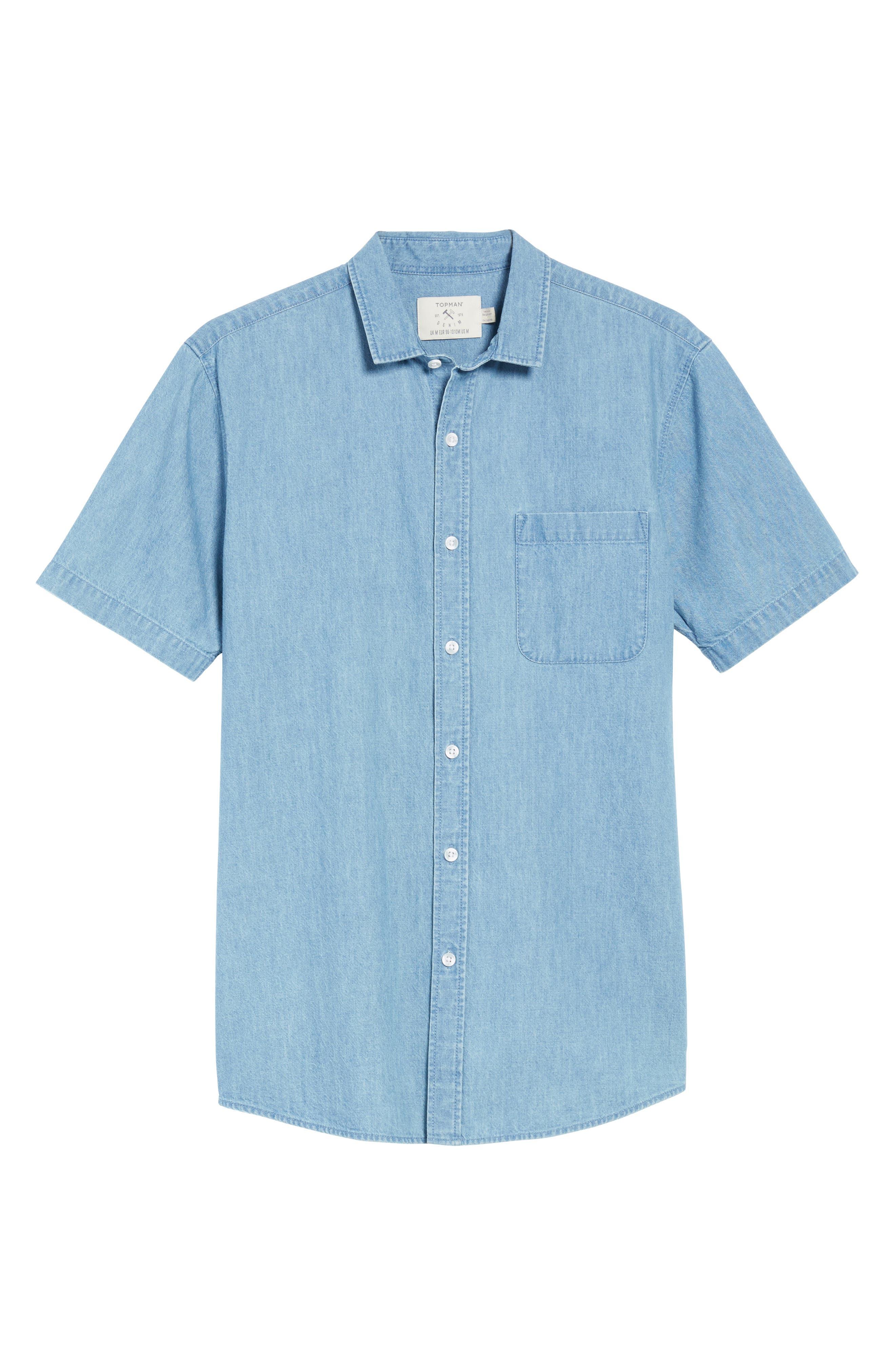 Washed Denim Shirt,                             Alternate thumbnail 6, color,                             Blue