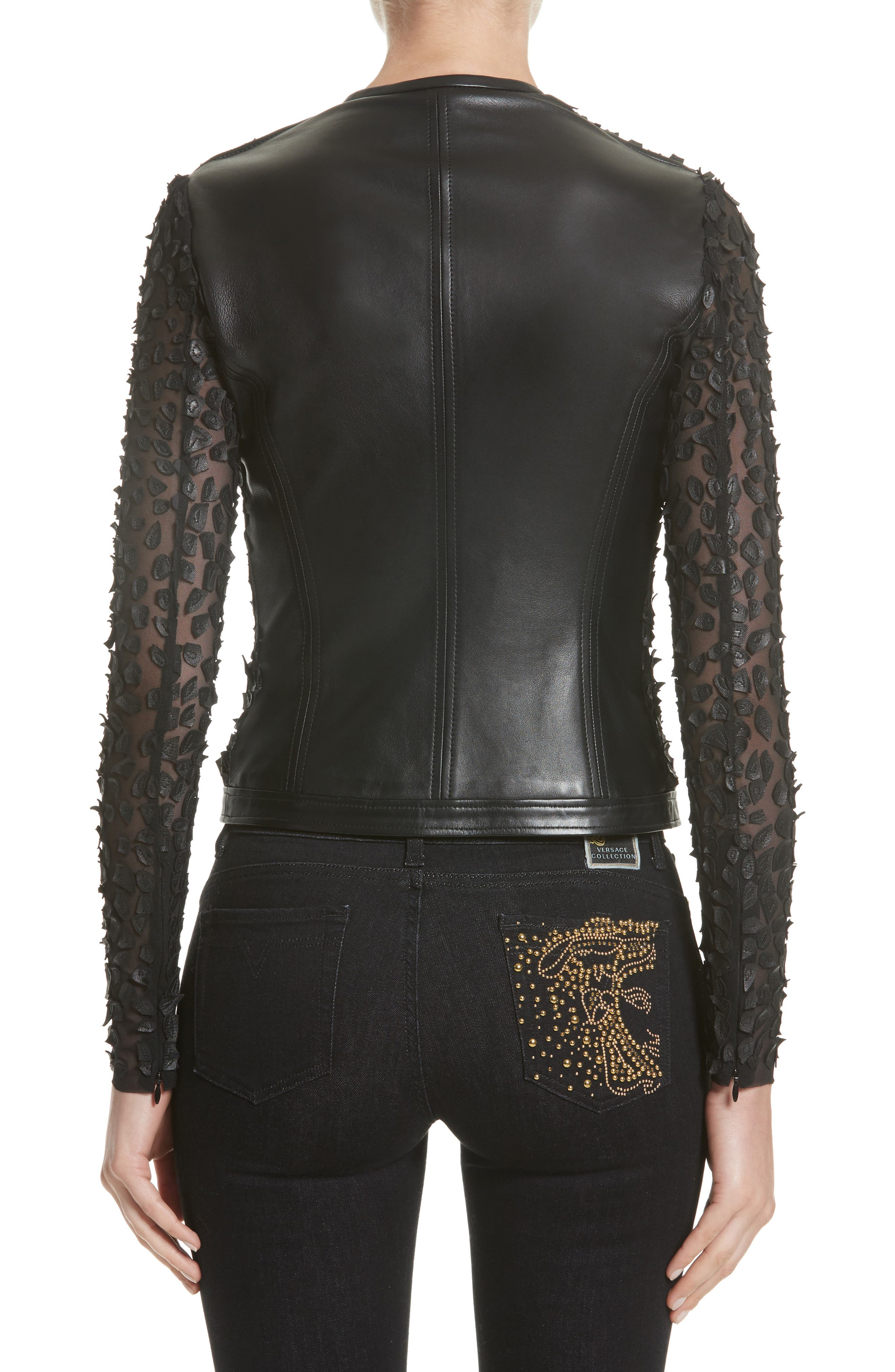 Collection Pieced Leather Jacket,                             Alternate thumbnail 2, color,                             Black
