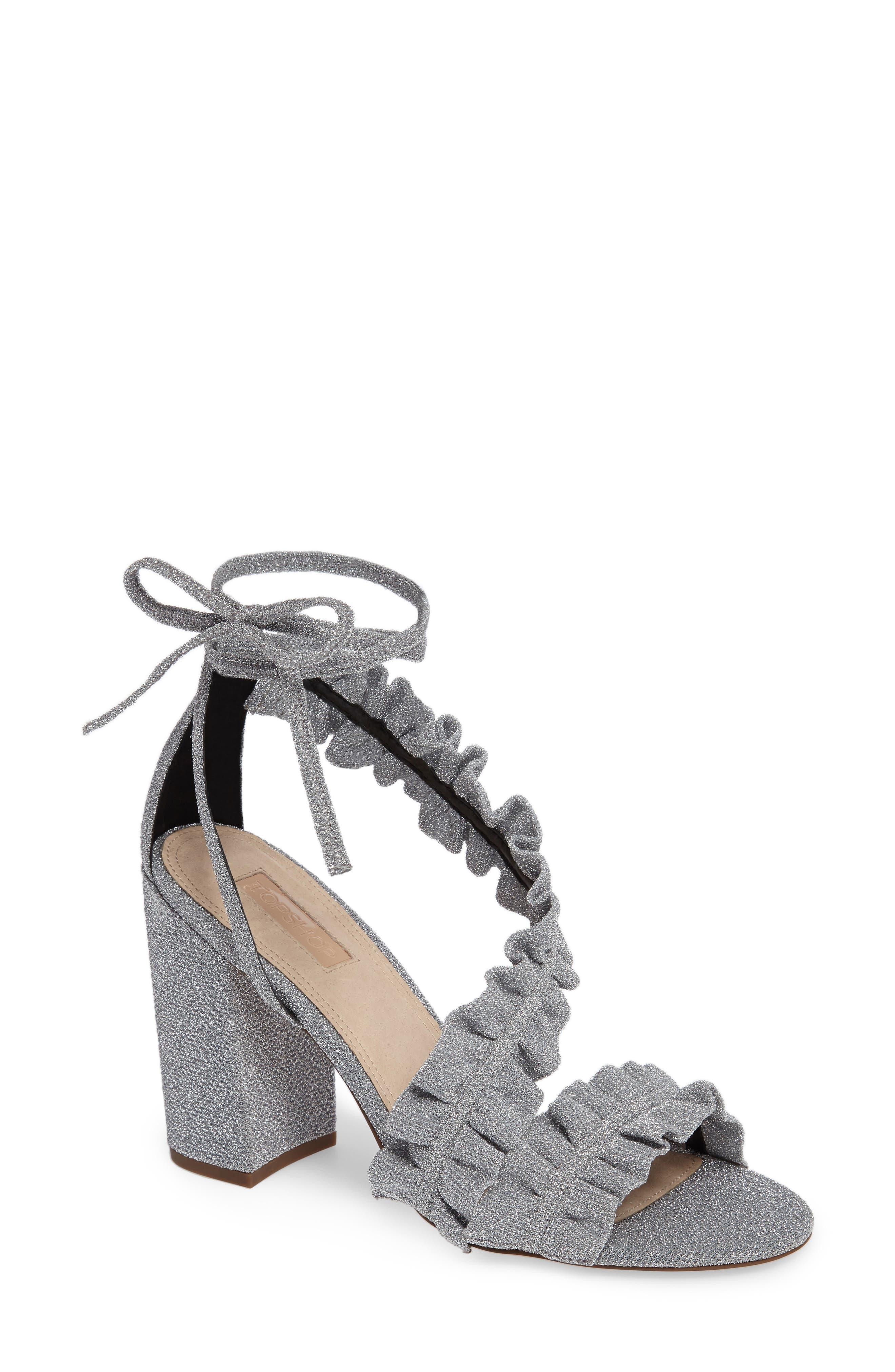 Main Image - Topshop Real Asymmetrical Ruffled Sandal (Women)