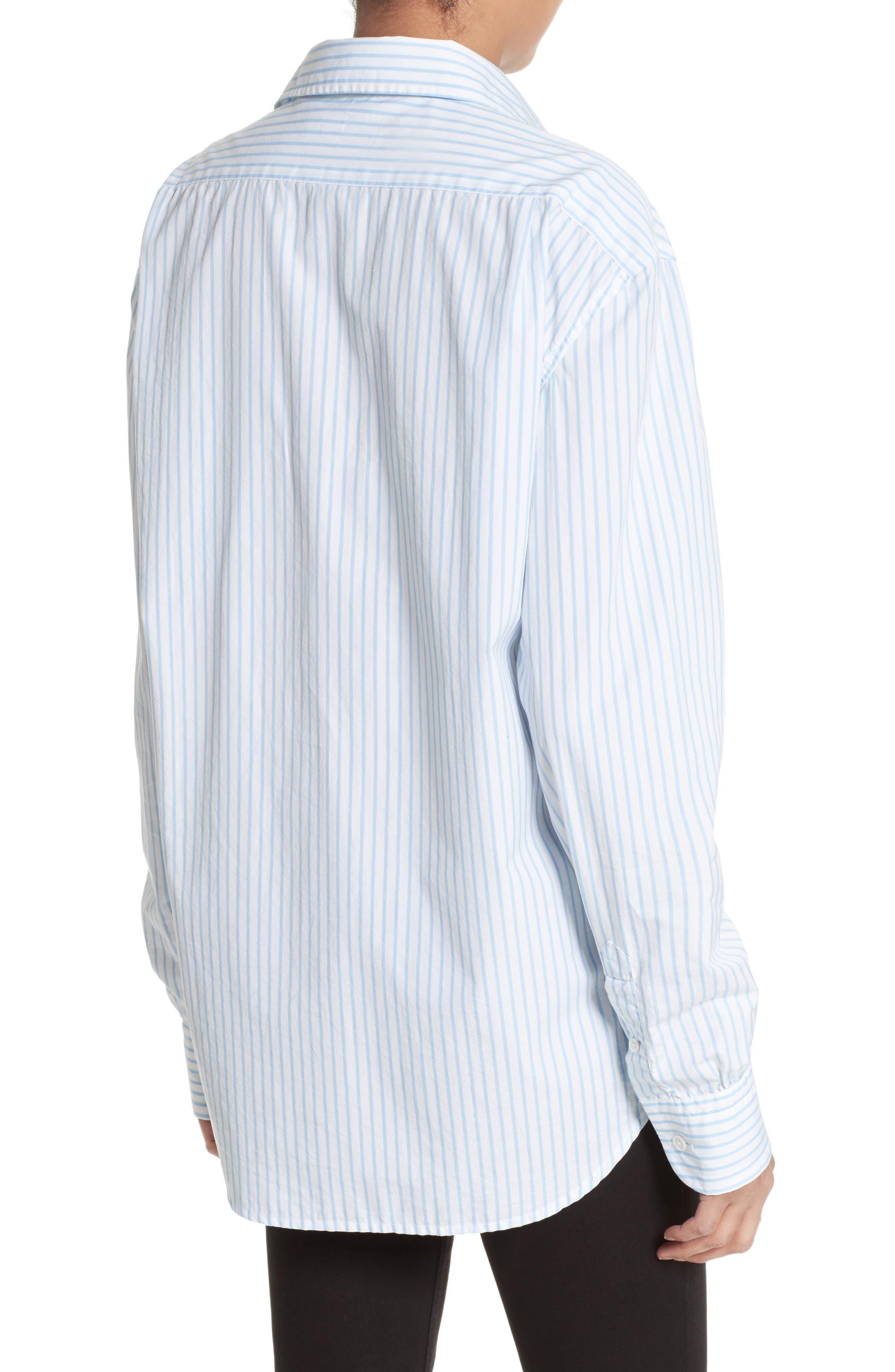Stripe Poplin Shirt,                             Alternate thumbnail 3, color,                             Capri Blue Multi