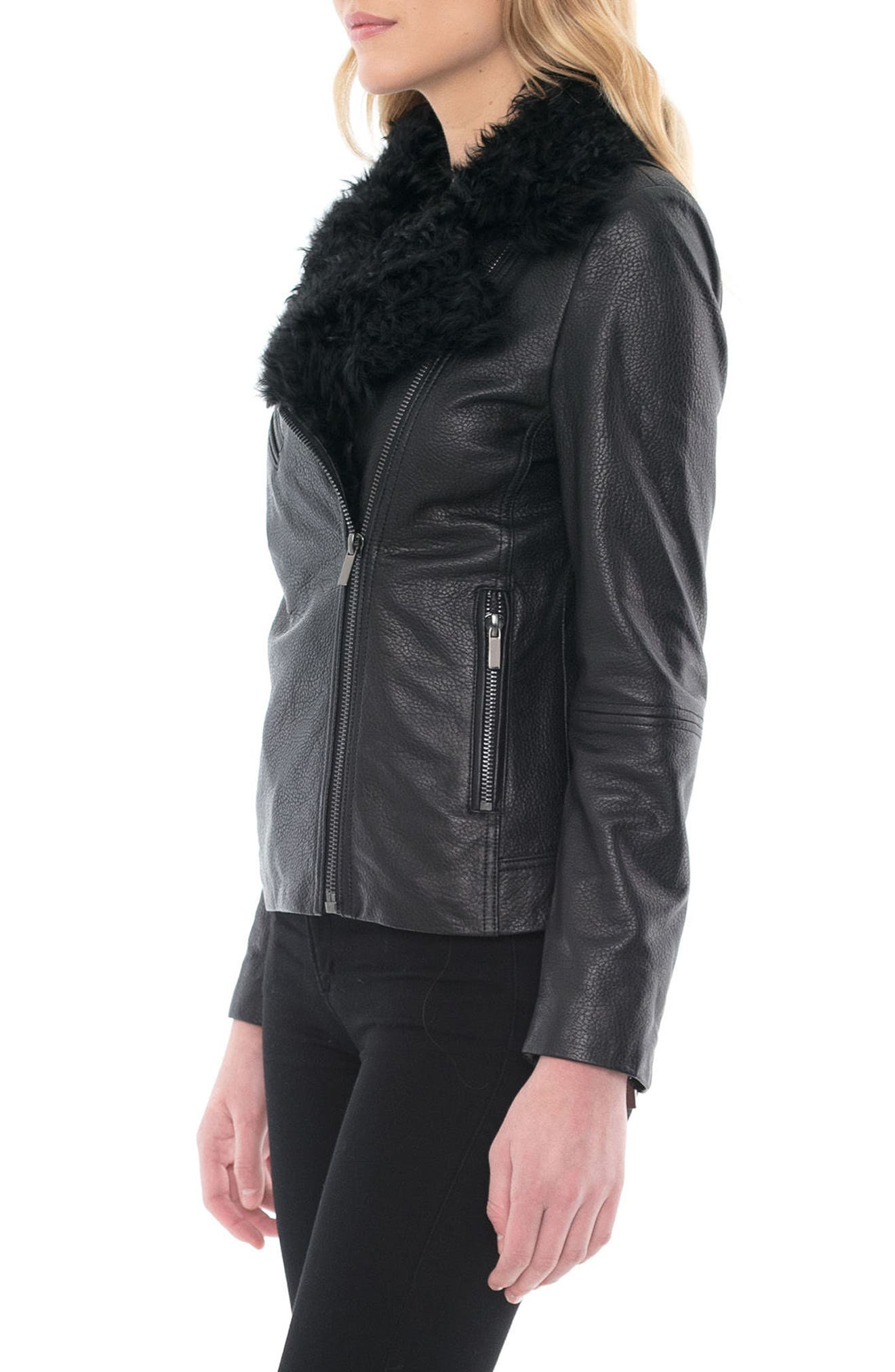 Marianne Genuine Shearling Collar Moto Jacket,                             Alternate thumbnail 3, color,                             Black