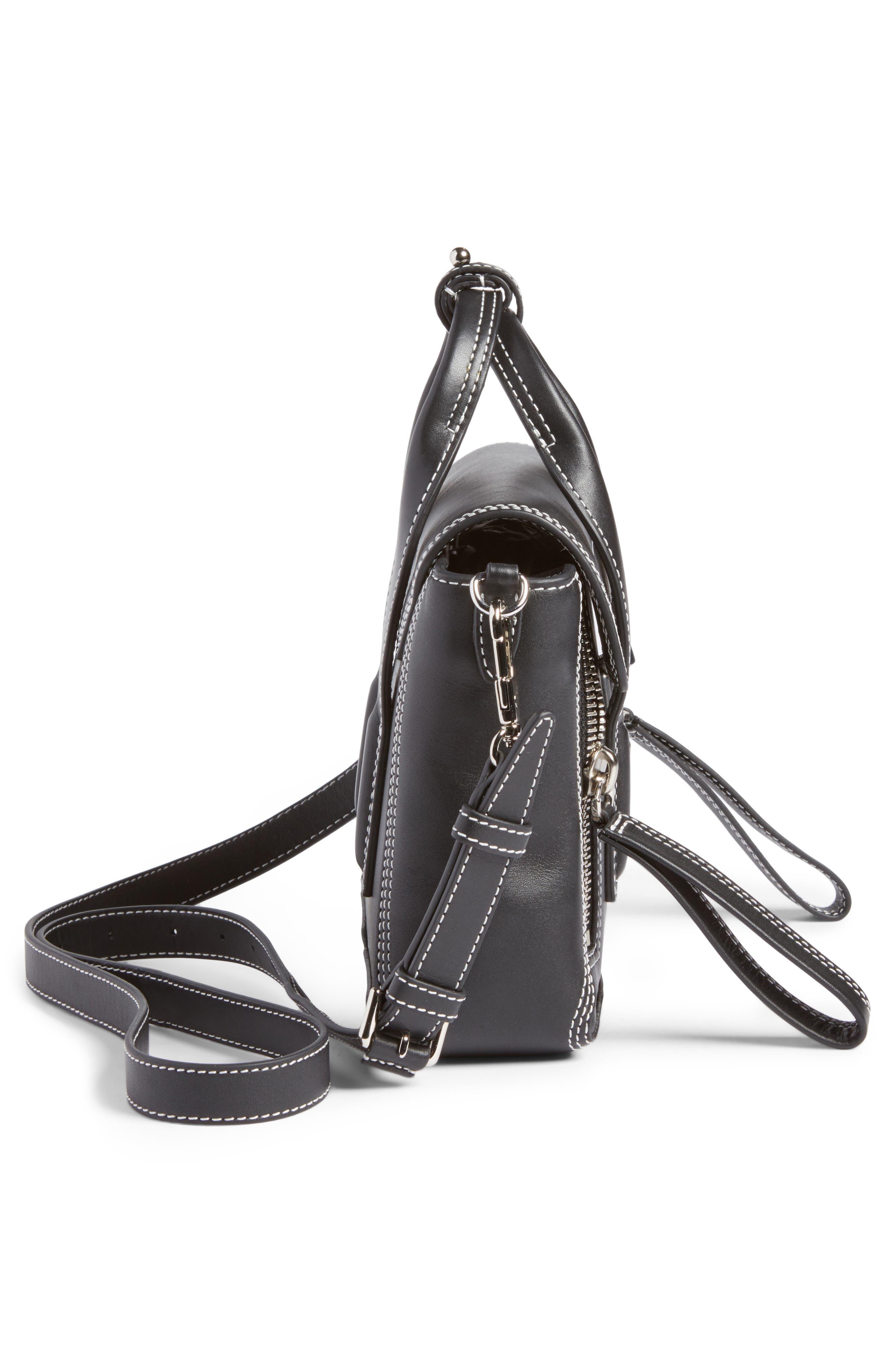 Mini Pashli Leather Satchel,                             Alternate thumbnail 4, color,                             Black