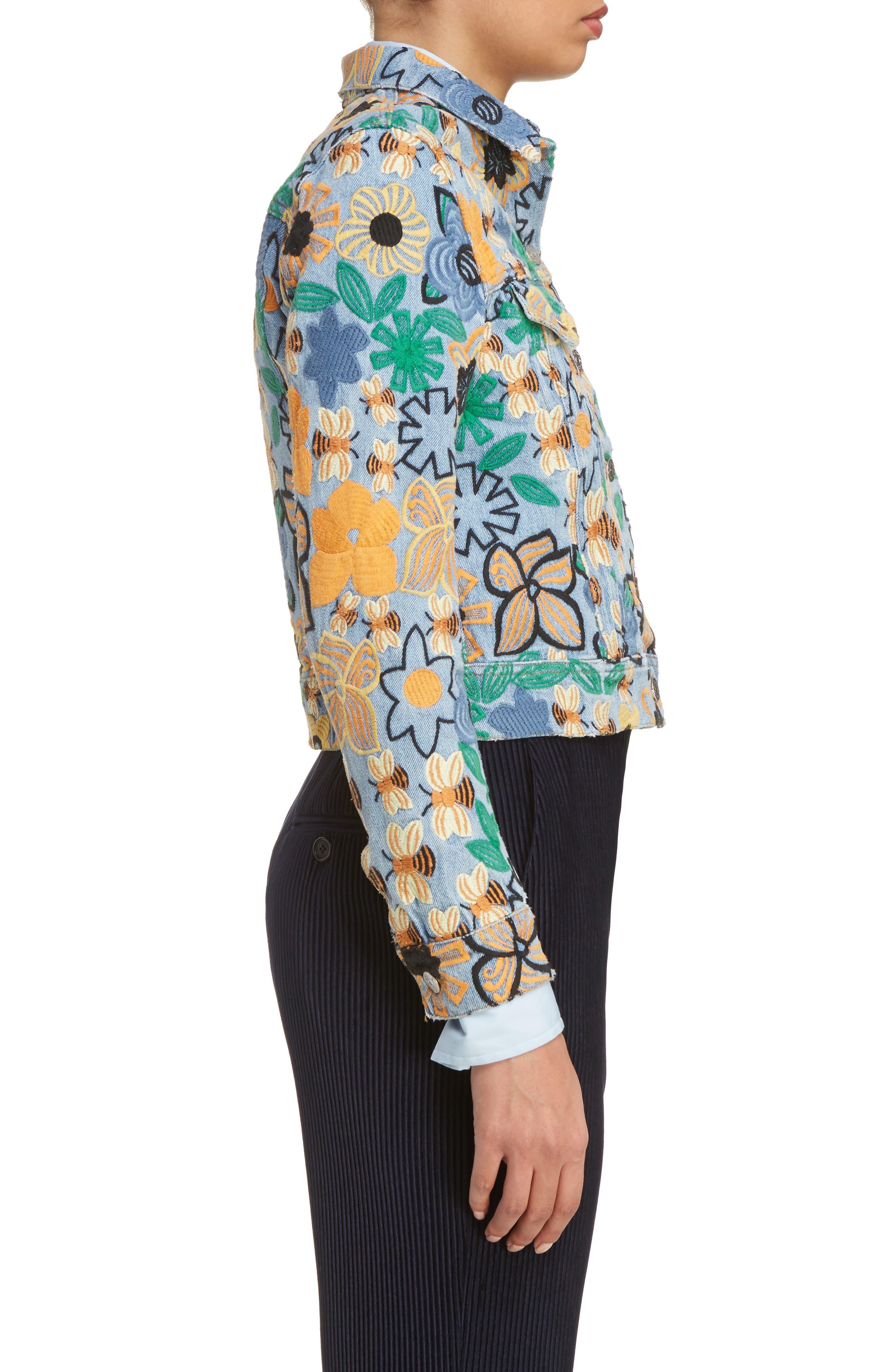 Alternate Image 3  - ACNE Studios Chea Floral Embroidered Crop Denim Jacket