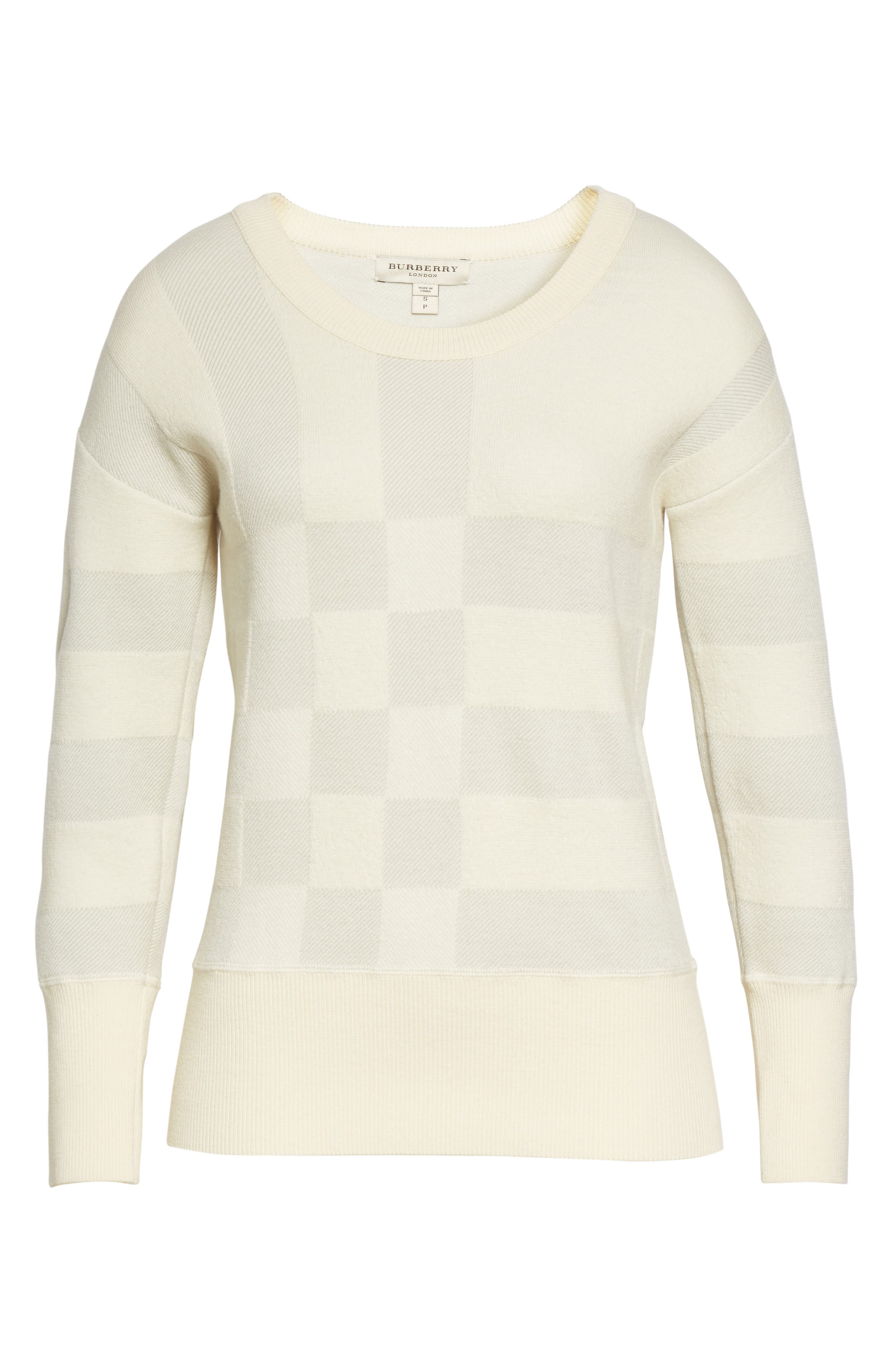 Alternate Image 4  - Burberry Check Knit Wool Blend Sweater (Nordstrom Exclusive)