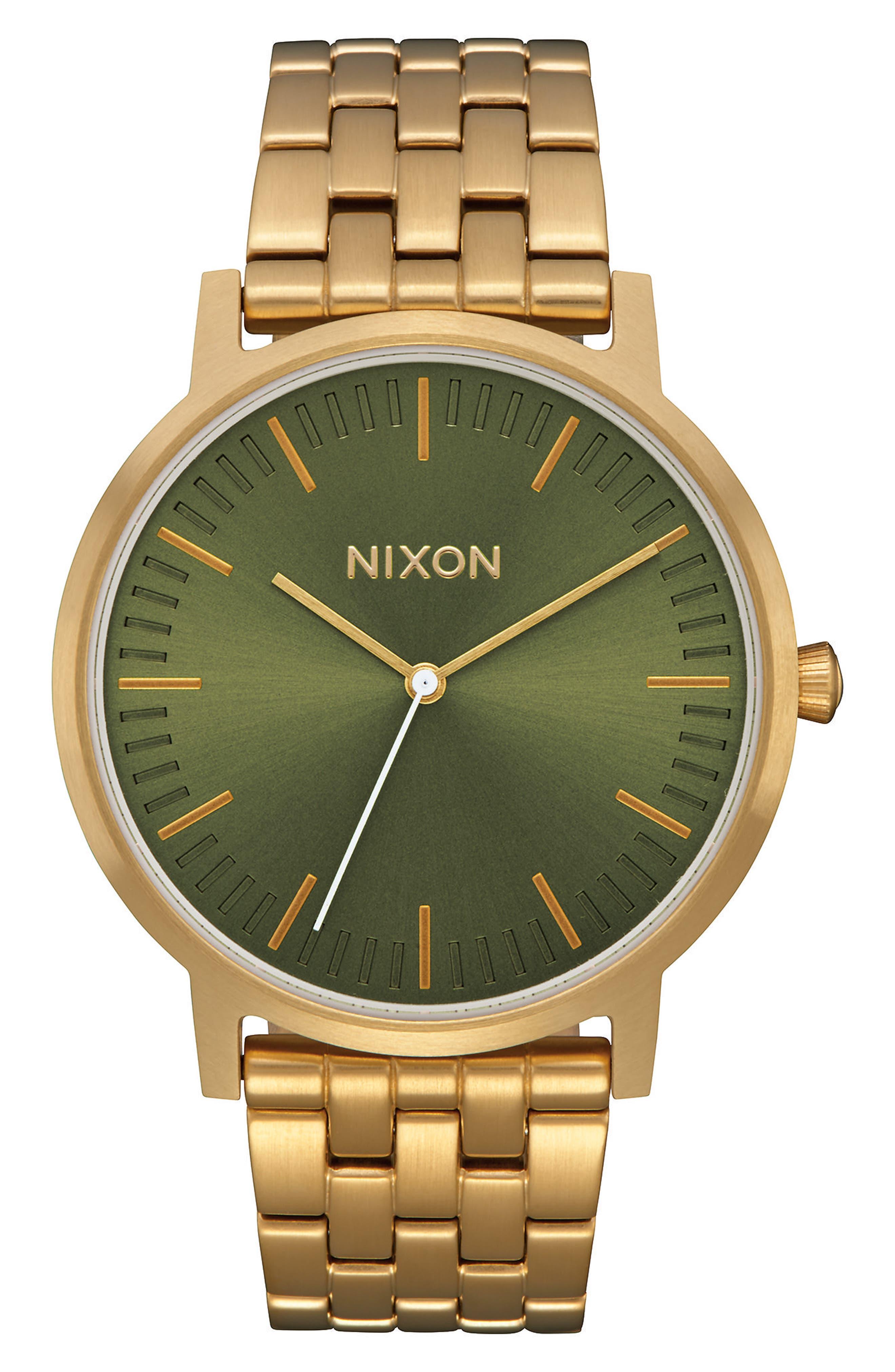 Porter Bracelet Watch, 40mm,                         Main,                         color, Gold/ Olive/ Gold