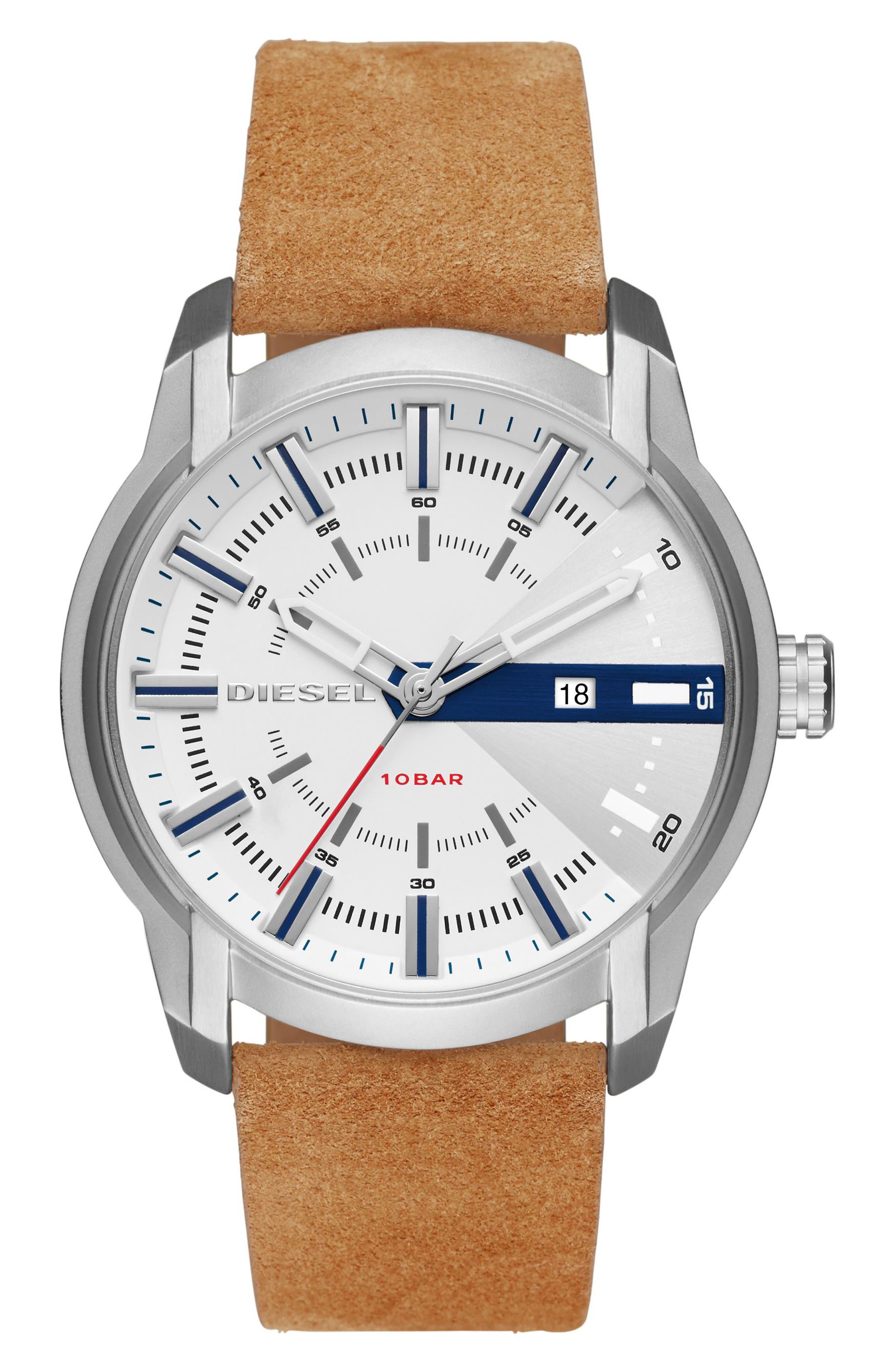 DIESEL® Armbar Suede Strap Watch, 45mm