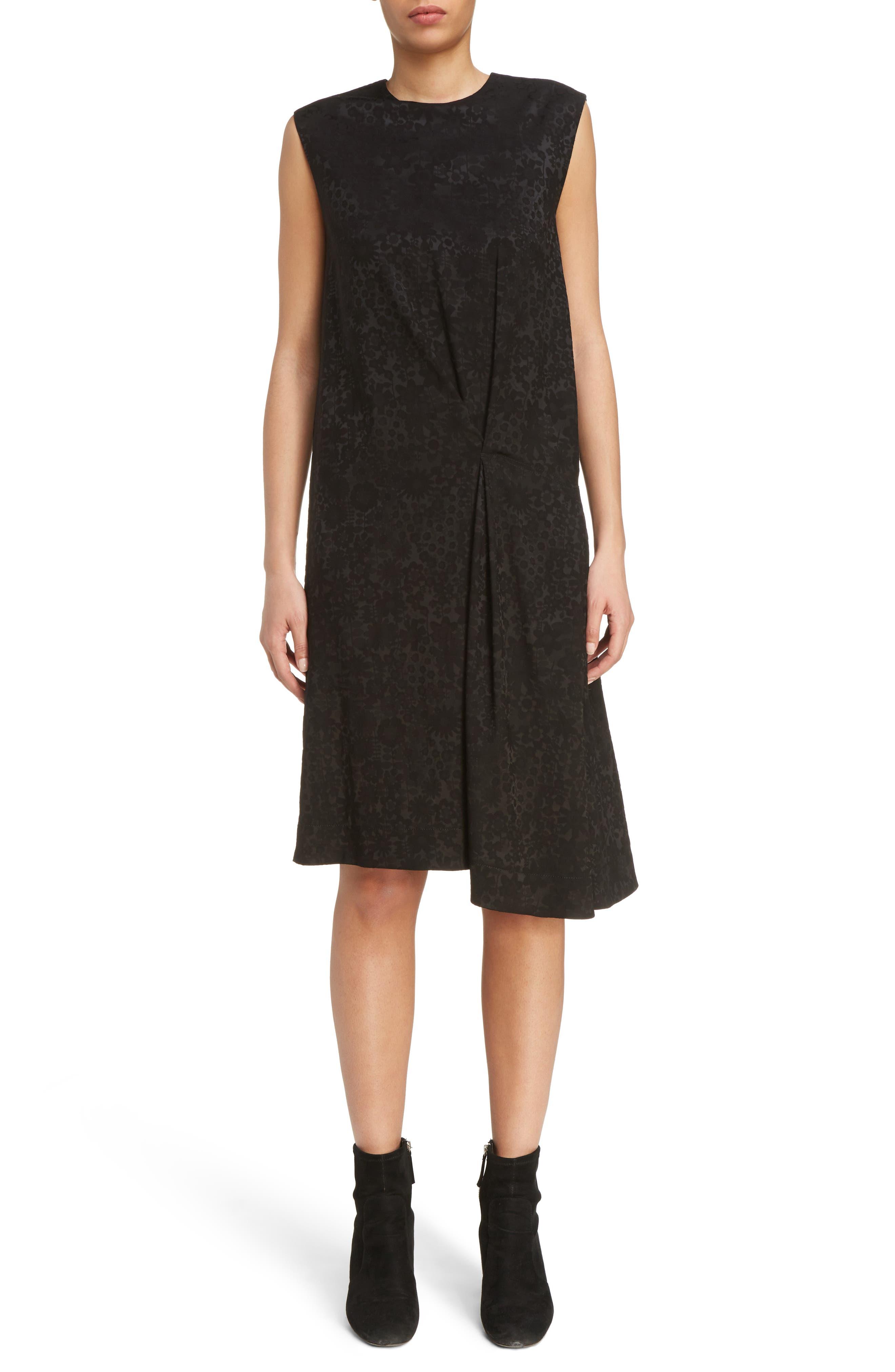 Danya Floral Asymmetrical Hem Dress,                             Main thumbnail 1, color,                             Black Floral
