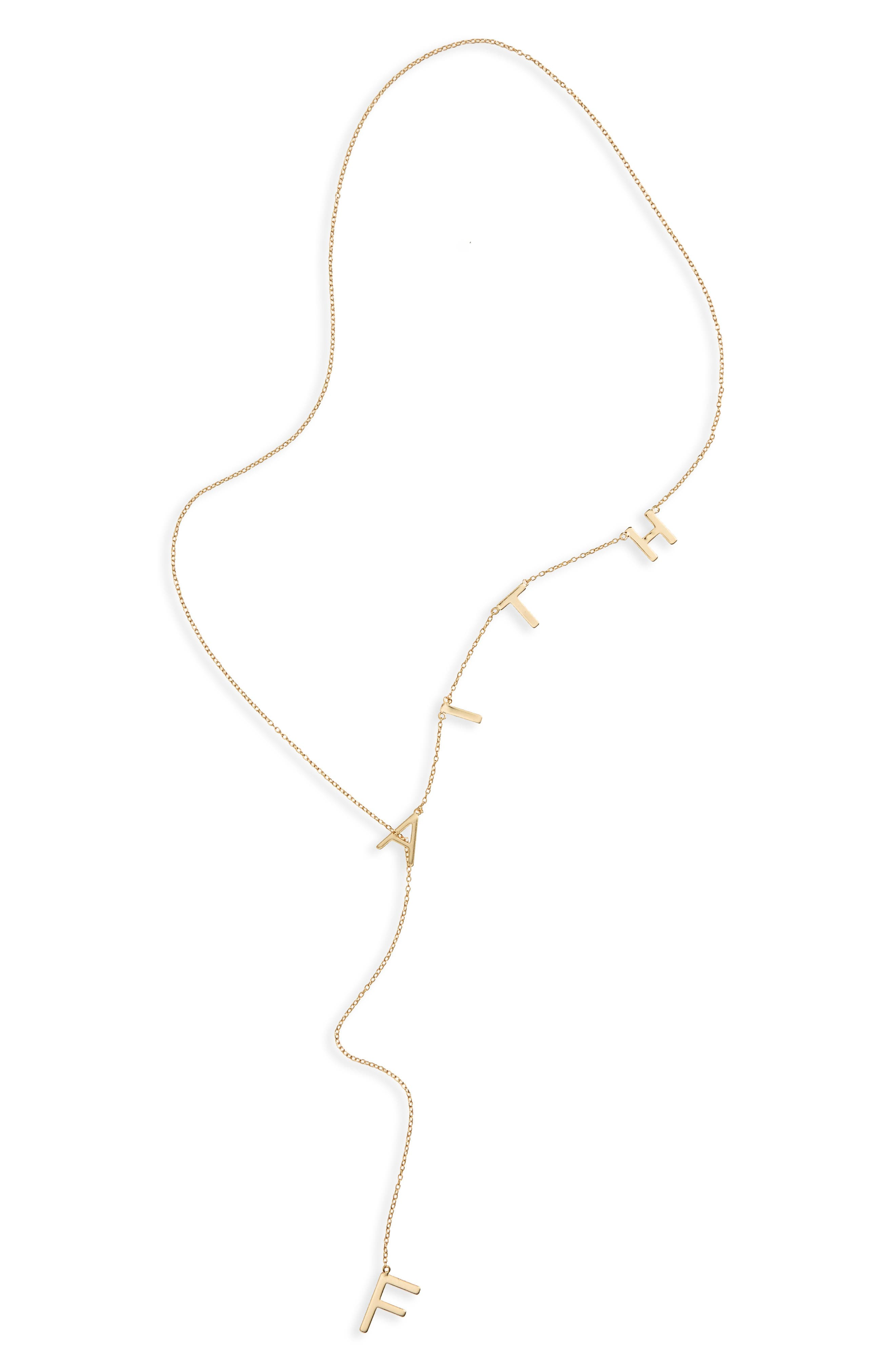 Faith Lariat Necklace,                         Main,                         color, Yellow/ Gold