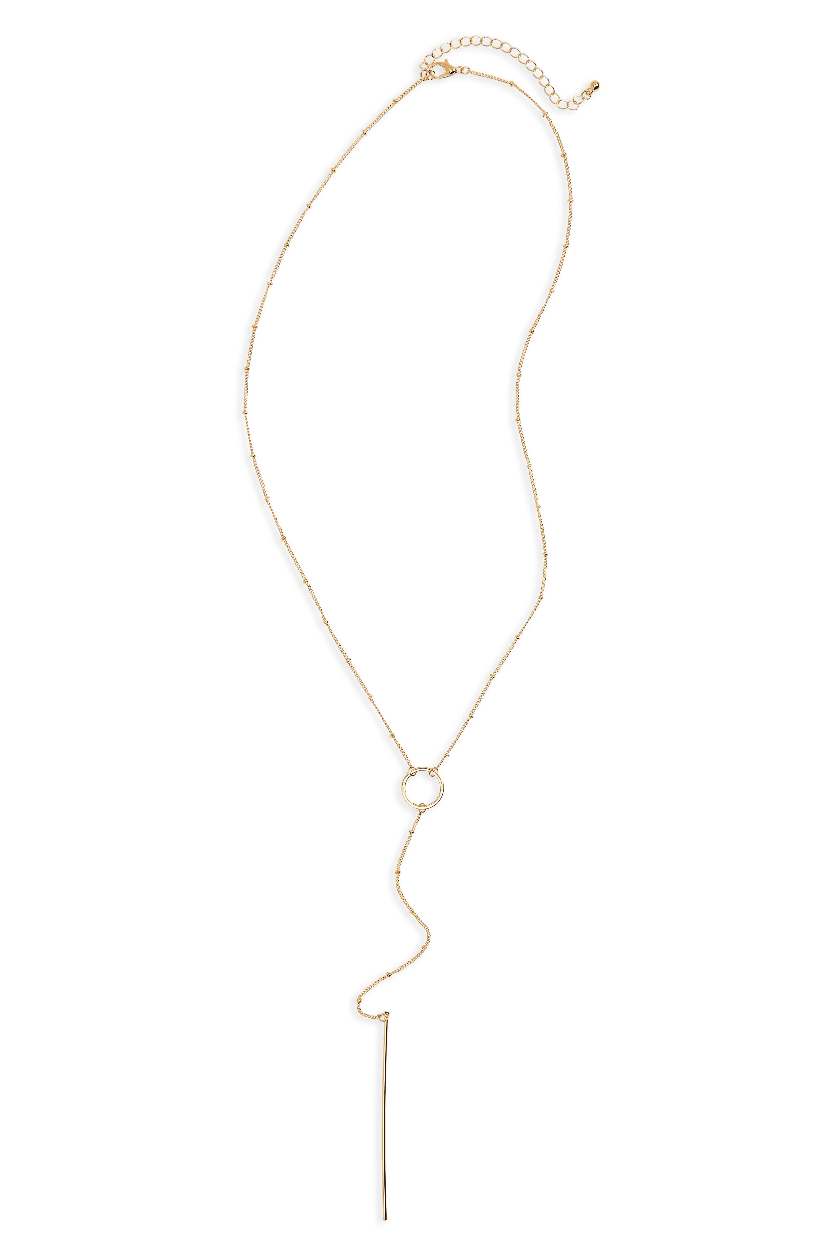 Main Image - BP. Circle Bar Lariat Necklace