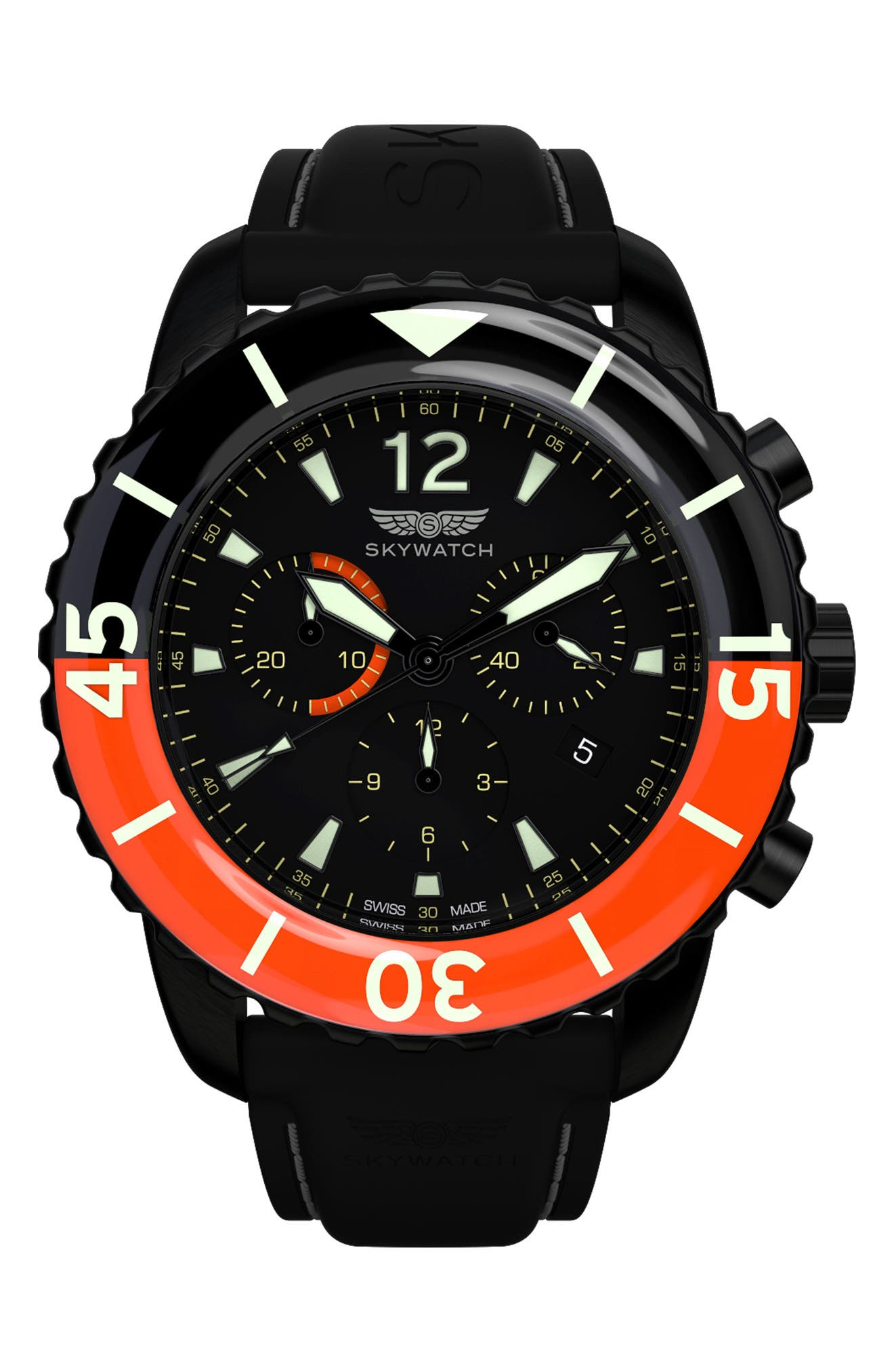 Classic Chronograph Silicone Strap Watch, 44mm,                             Main thumbnail 1, color,                             Black/ Black