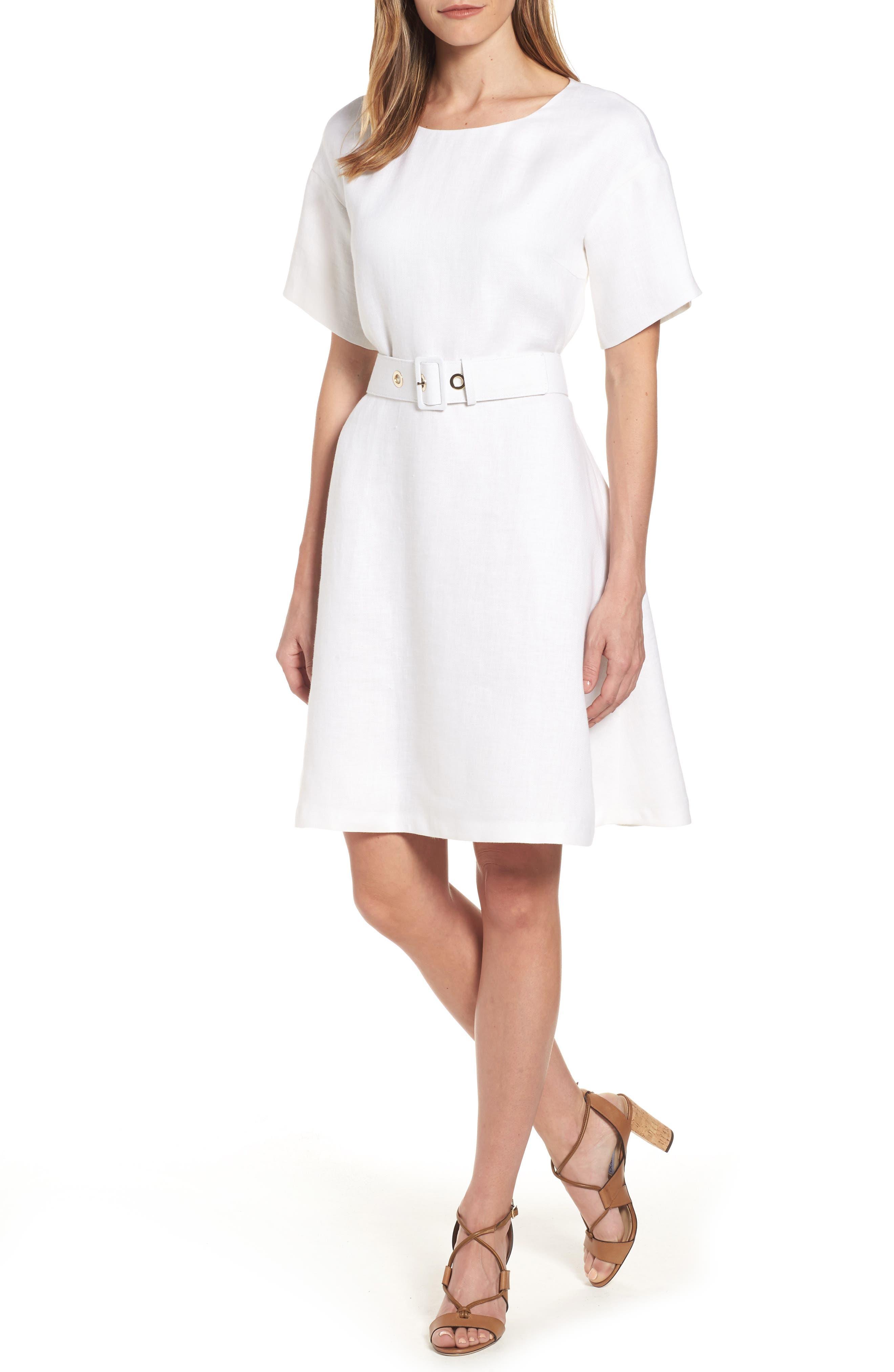 Dimisa Linen Belted A-Line Dress,                         Main,                         color, White