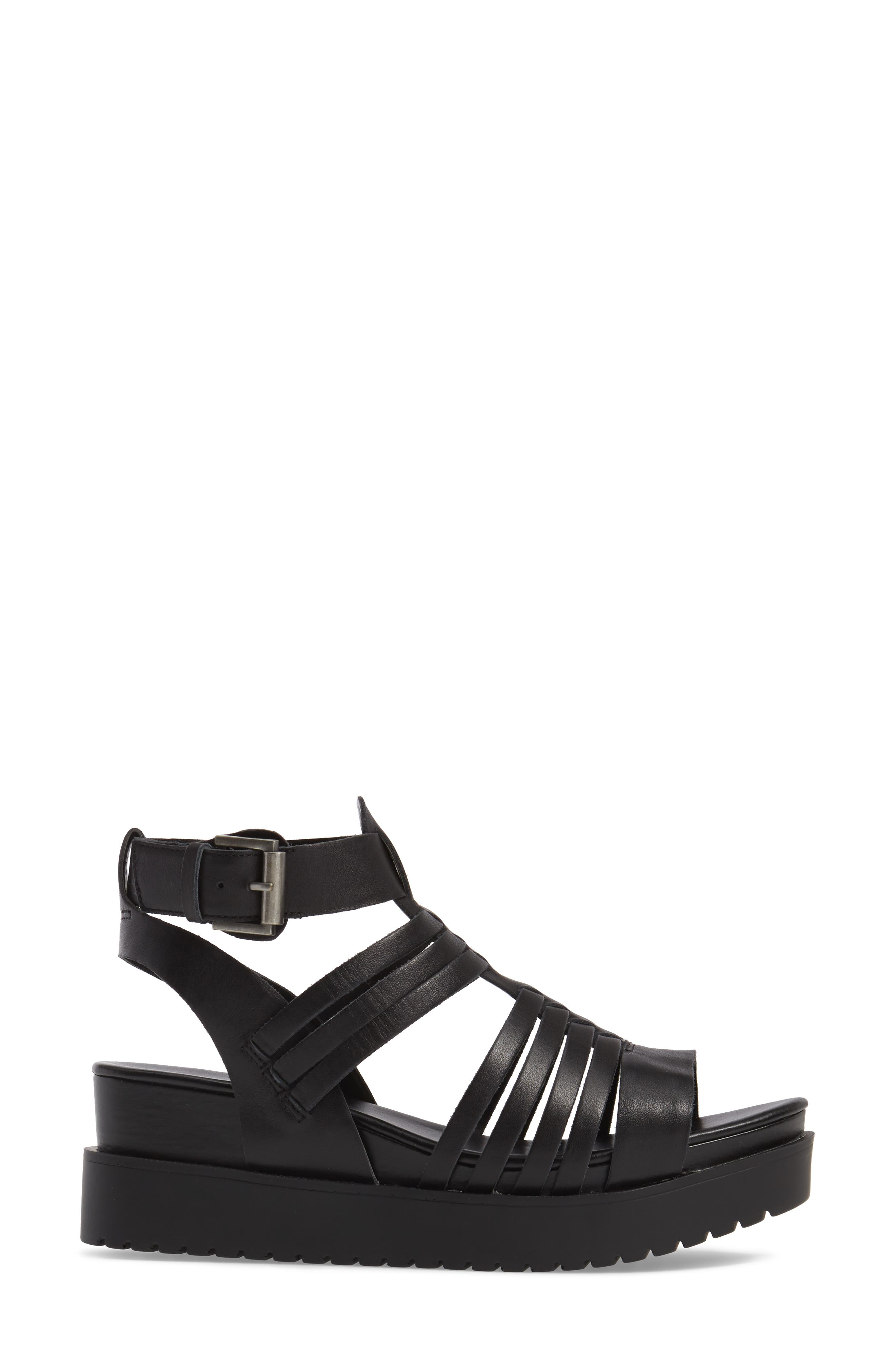 Ronnie Gladiator Platform Sandal,                             Alternate thumbnail 3, color,                             Black Leather
